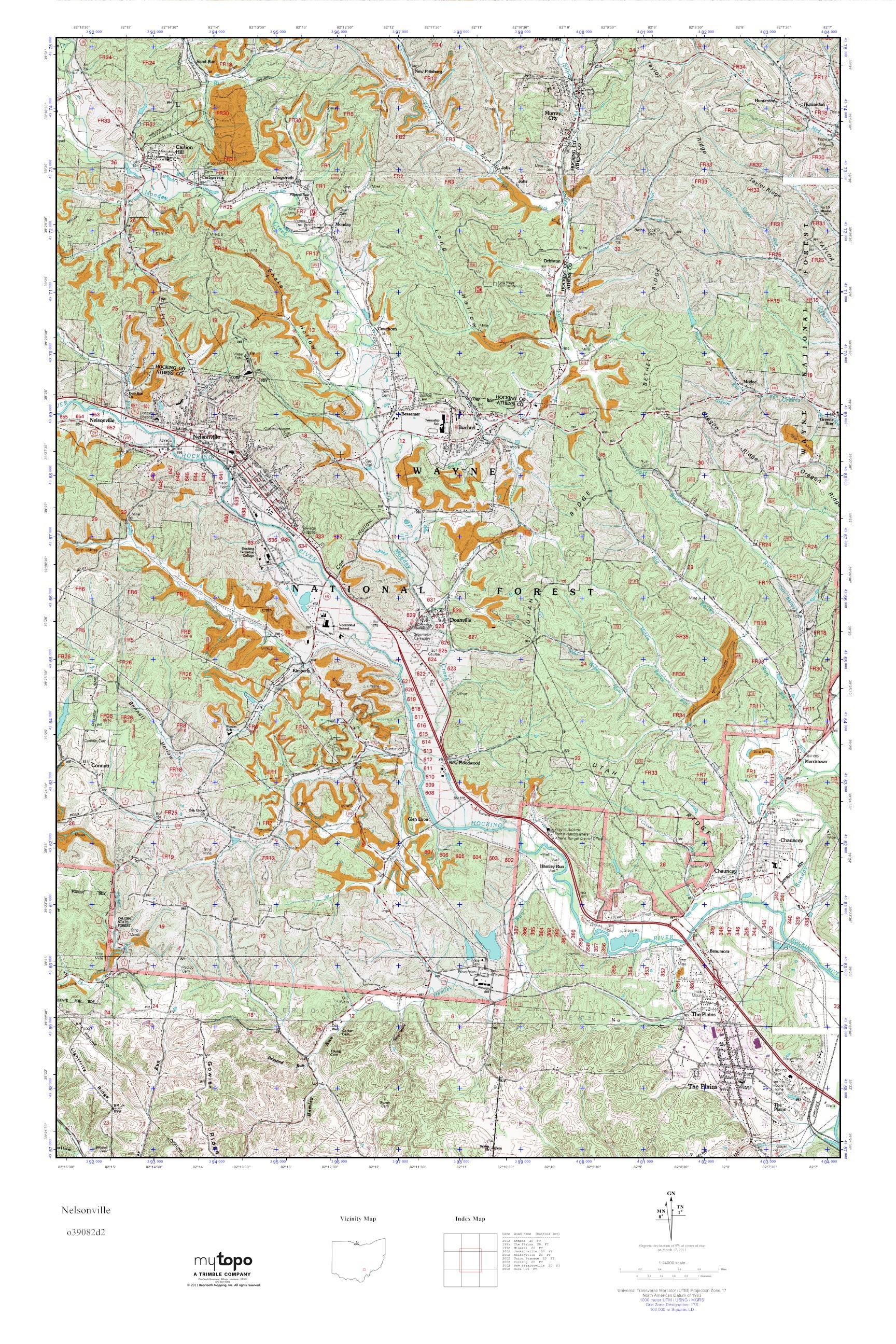 Mytopo Nelsonville Ohio Usgs Quad Topo Map