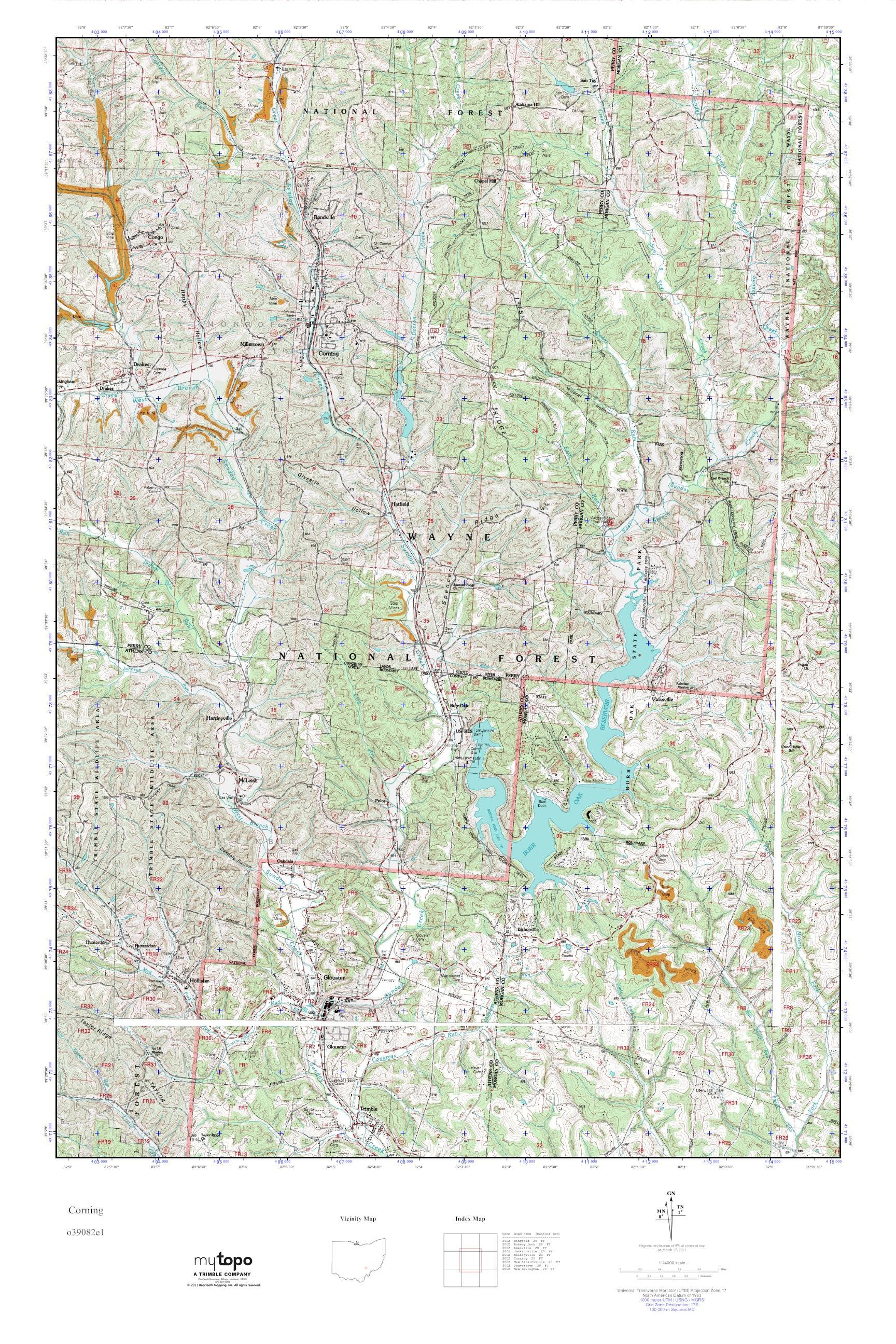 MyTopo Corning, Ohio USGS Quad Topo Map