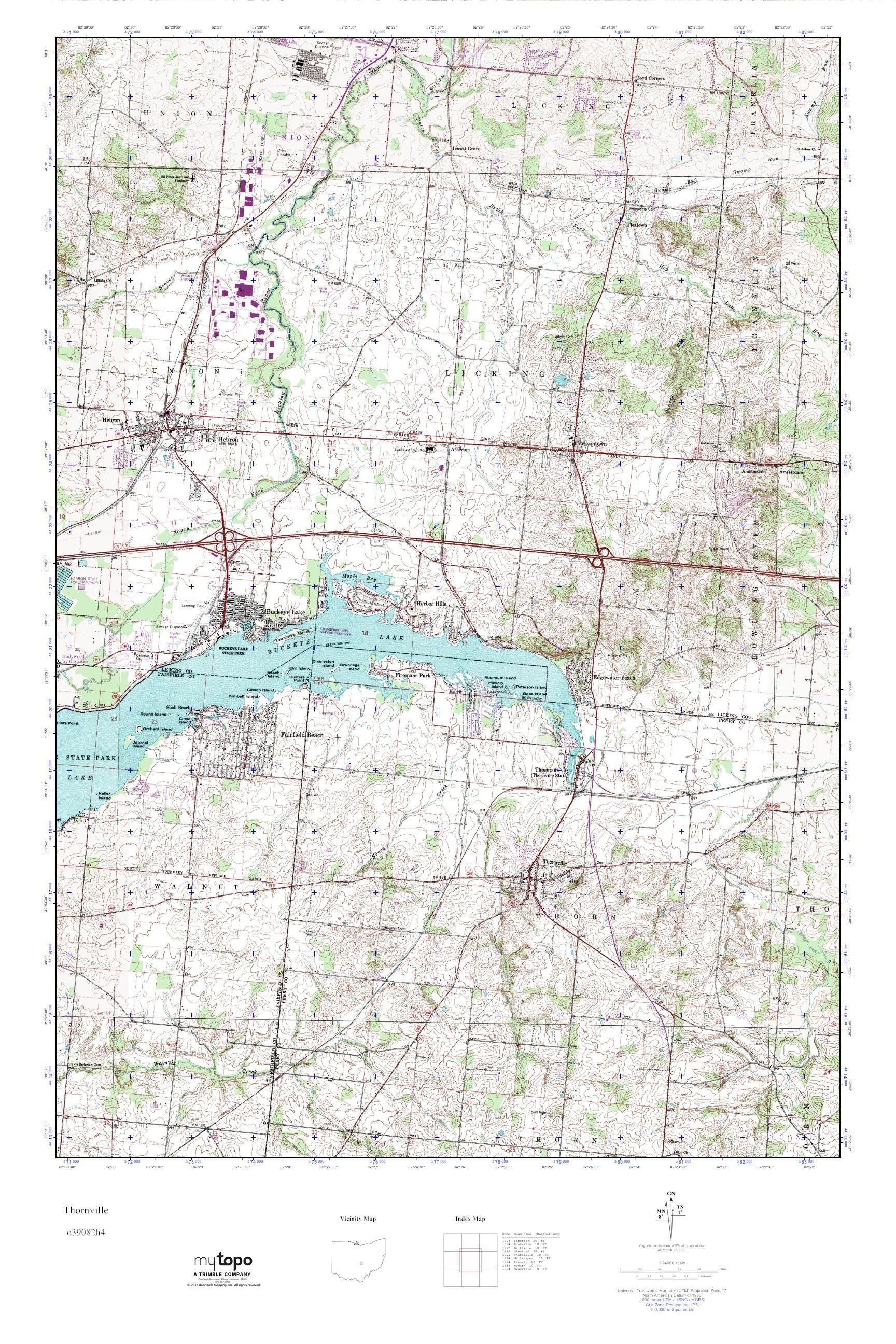 Mytopo Thornville Ohio Usgs Quad Topo Map