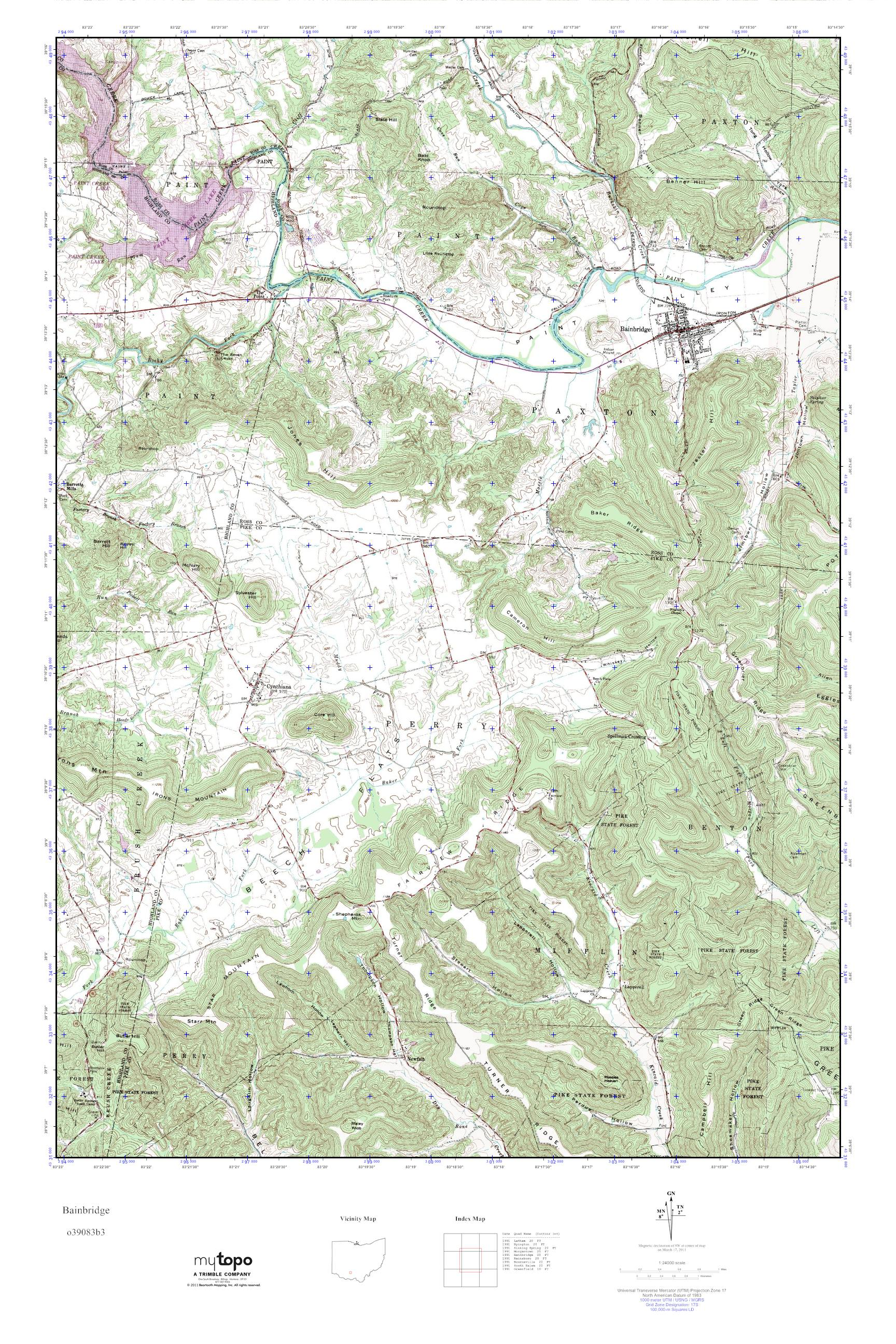 Mytopo Bainbridge Ohio Usgs Quad Topo Map