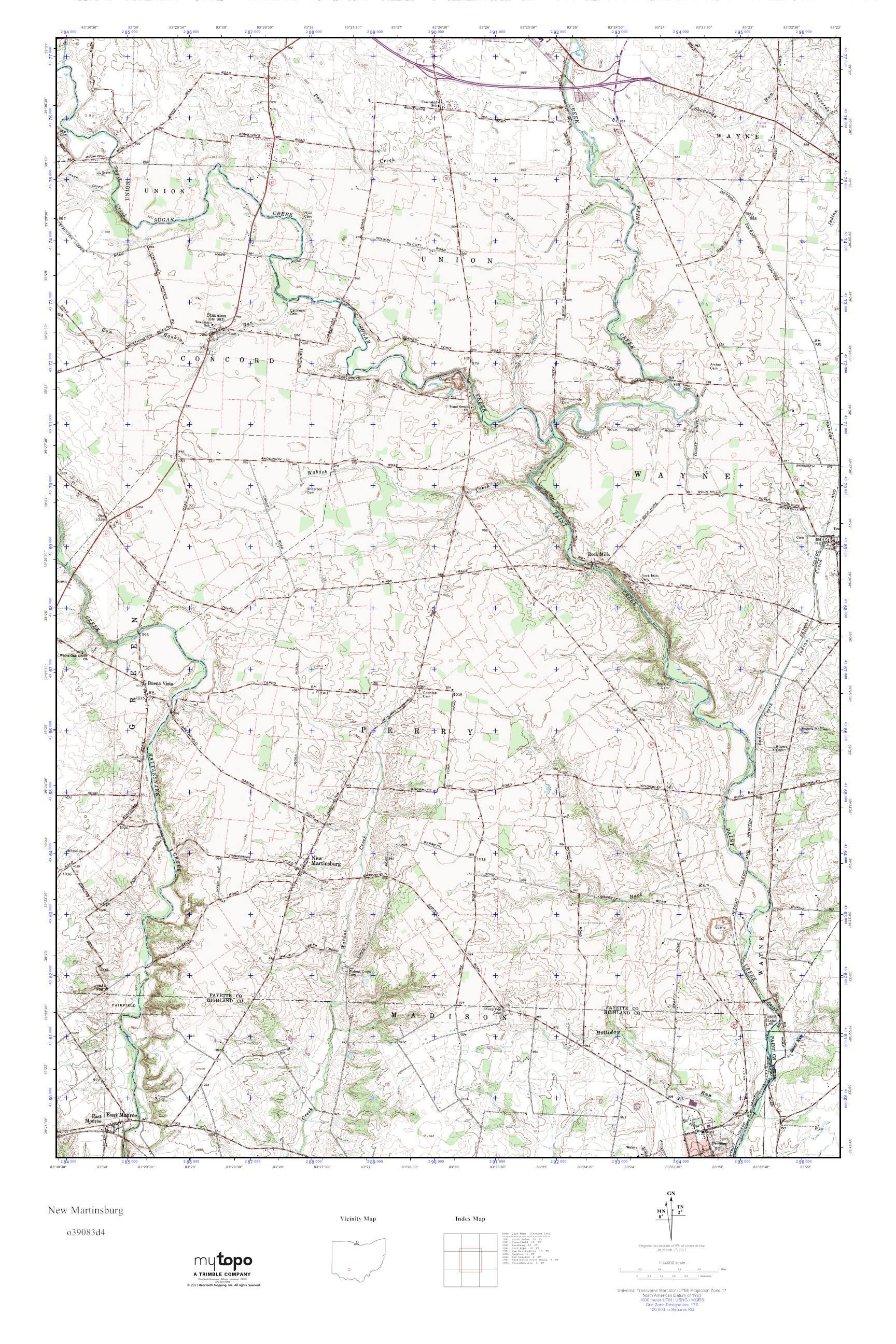MyTopo New Martinsburg Ohio USGS Quad Topo Map
