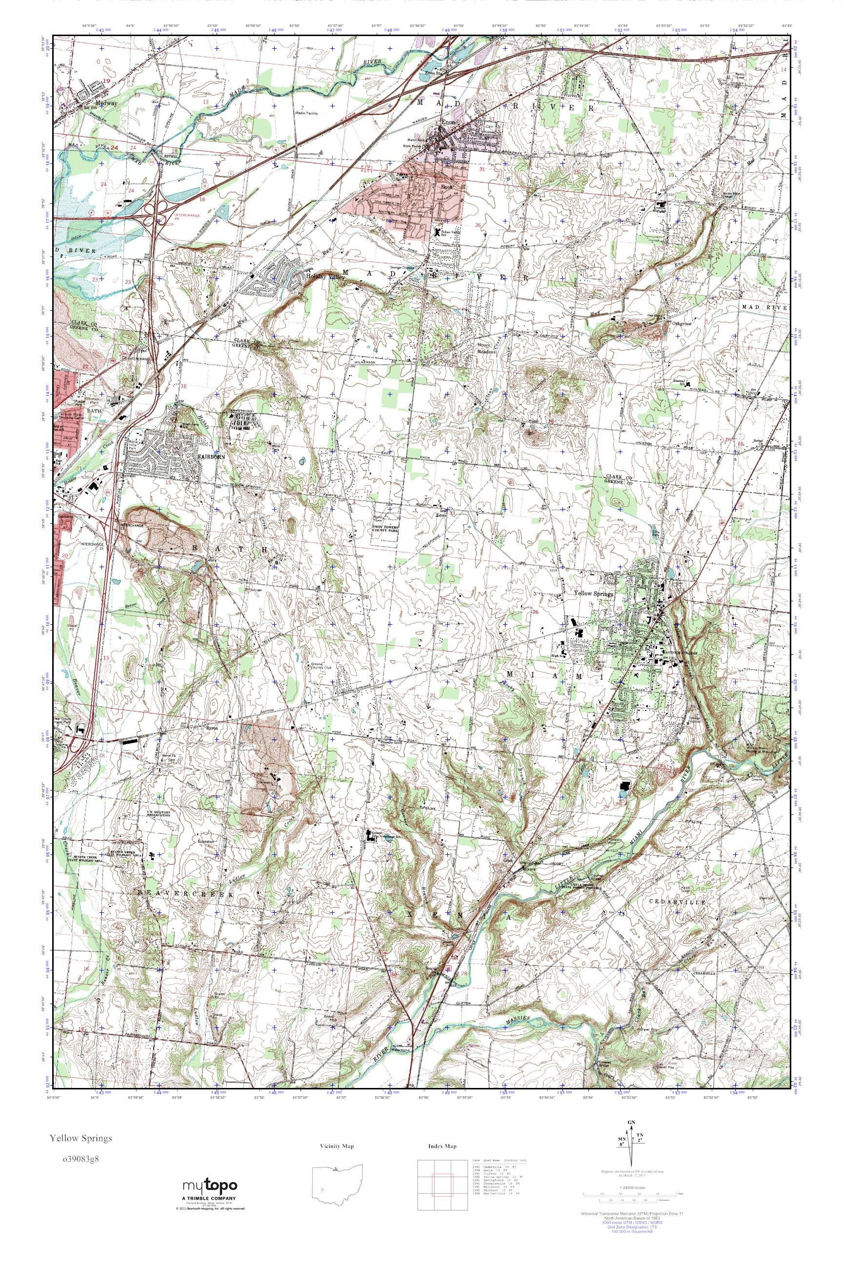 Mytopo Yellow Springs Ohio Usgs Quad Topo Map