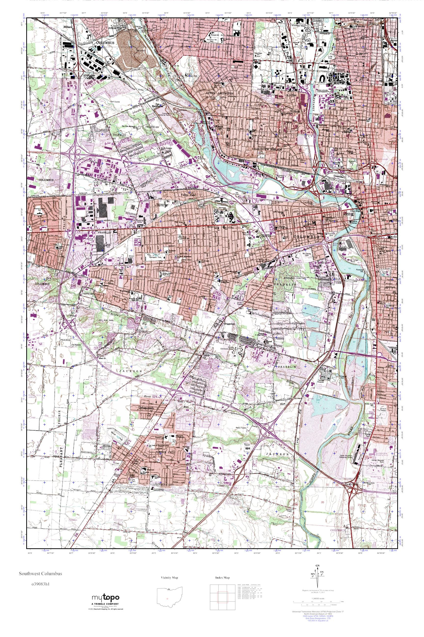 Southwestern Ohio Map.Mytopo Southwest Columbus Ohio Usgs Quad Topo Map