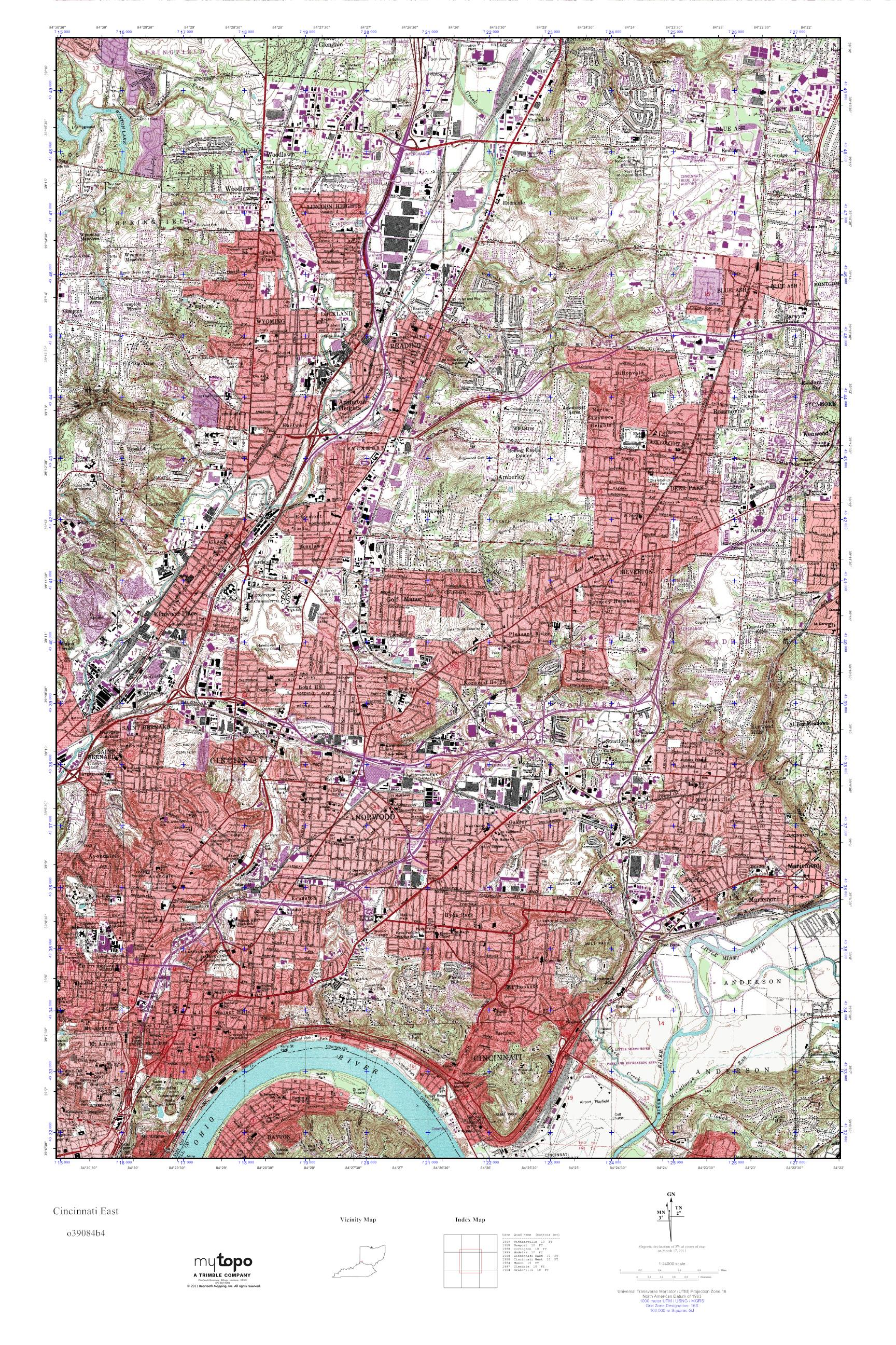 Mytopo Cincinnati East Ohio Usgs Quad Topo Map