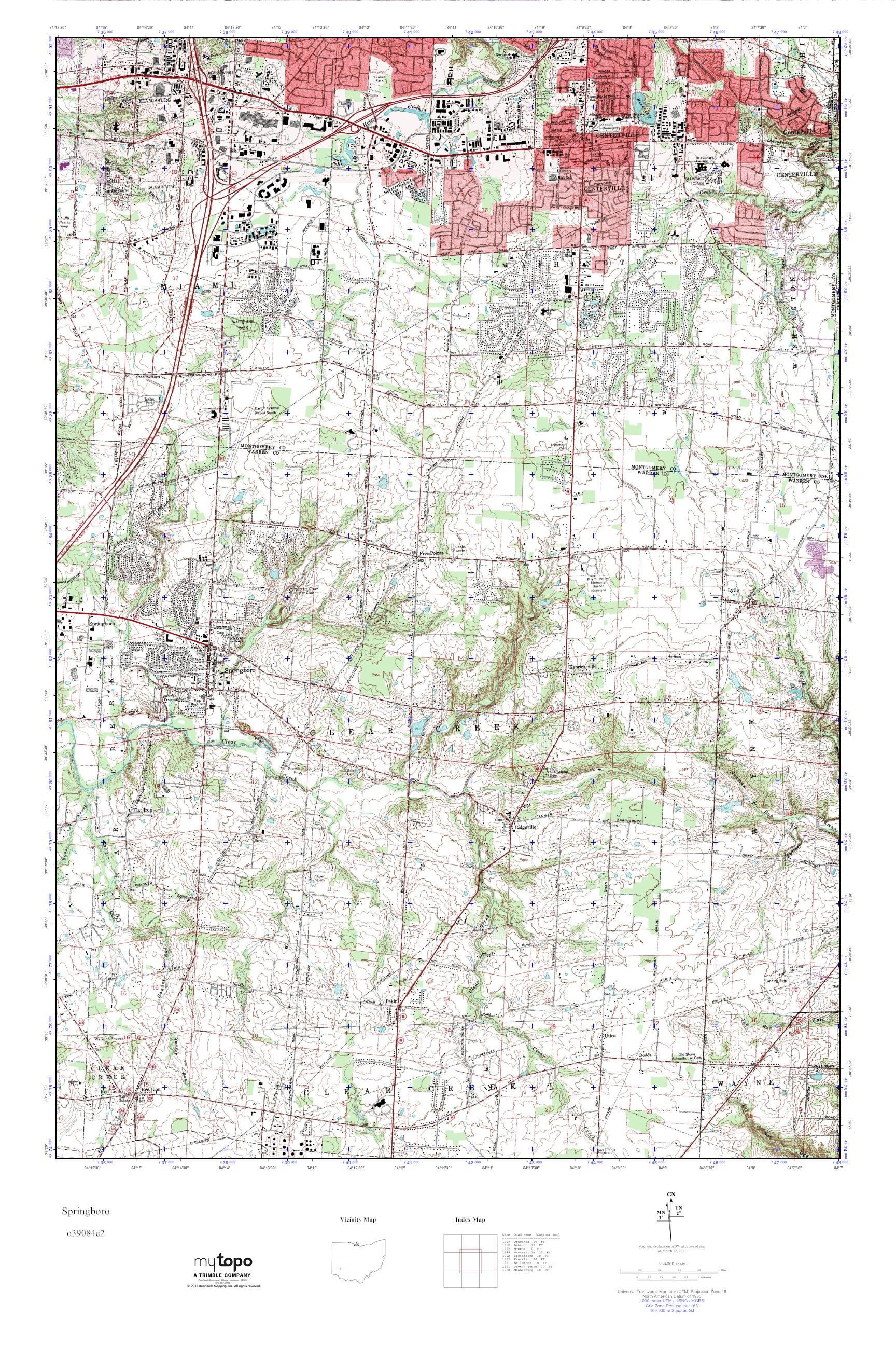 Springboro Ohio Map.Mytopo Springboro Ohio Usgs Quad Topo Map