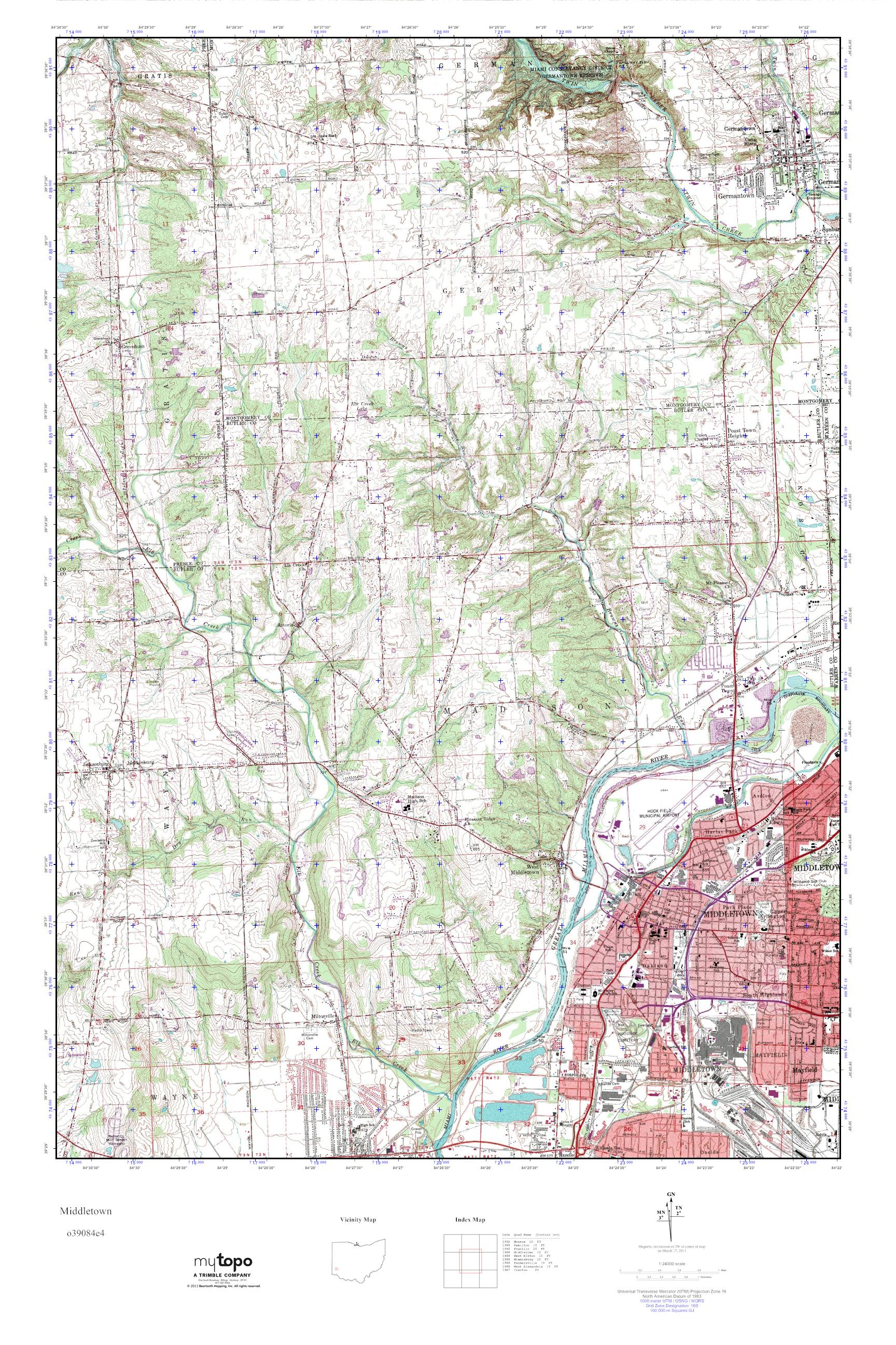 Mytopo Middletown Ohio Usgs Quad Topo Map