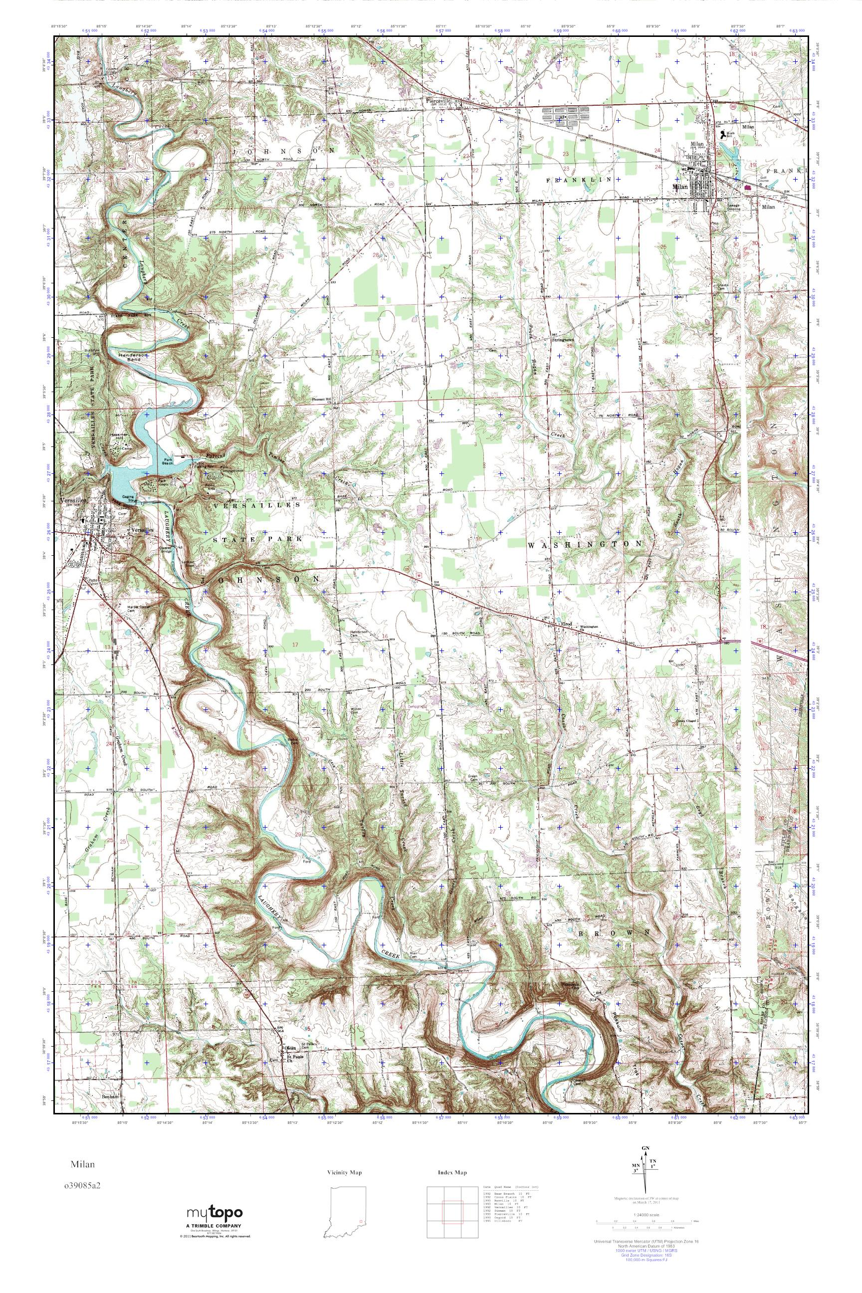 Milan Indiana Map.Mytopo Milan Indiana Usgs Quad Topo Map