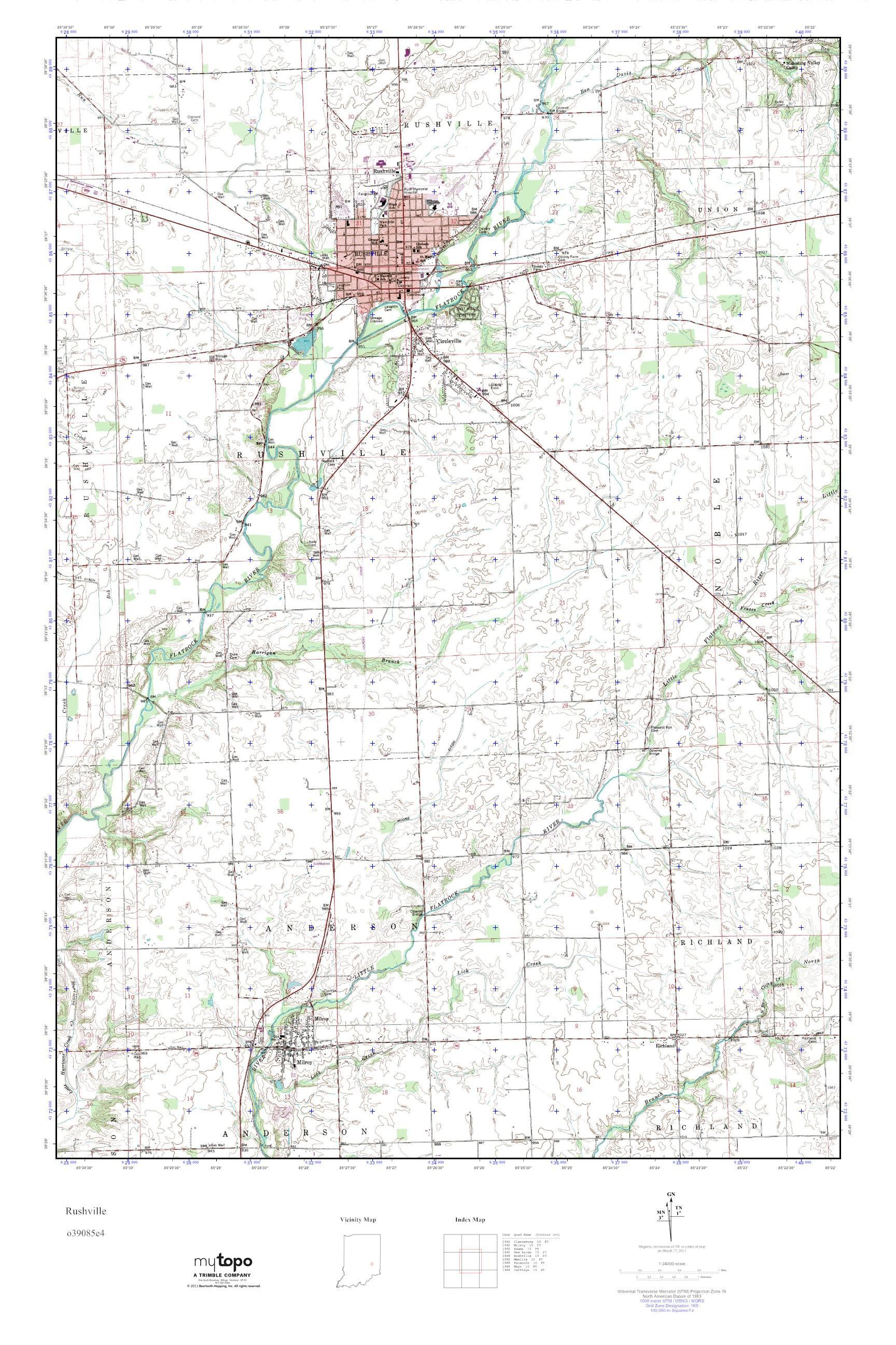 Mytopo Rushville Indiana Usgs Quad Topo Map