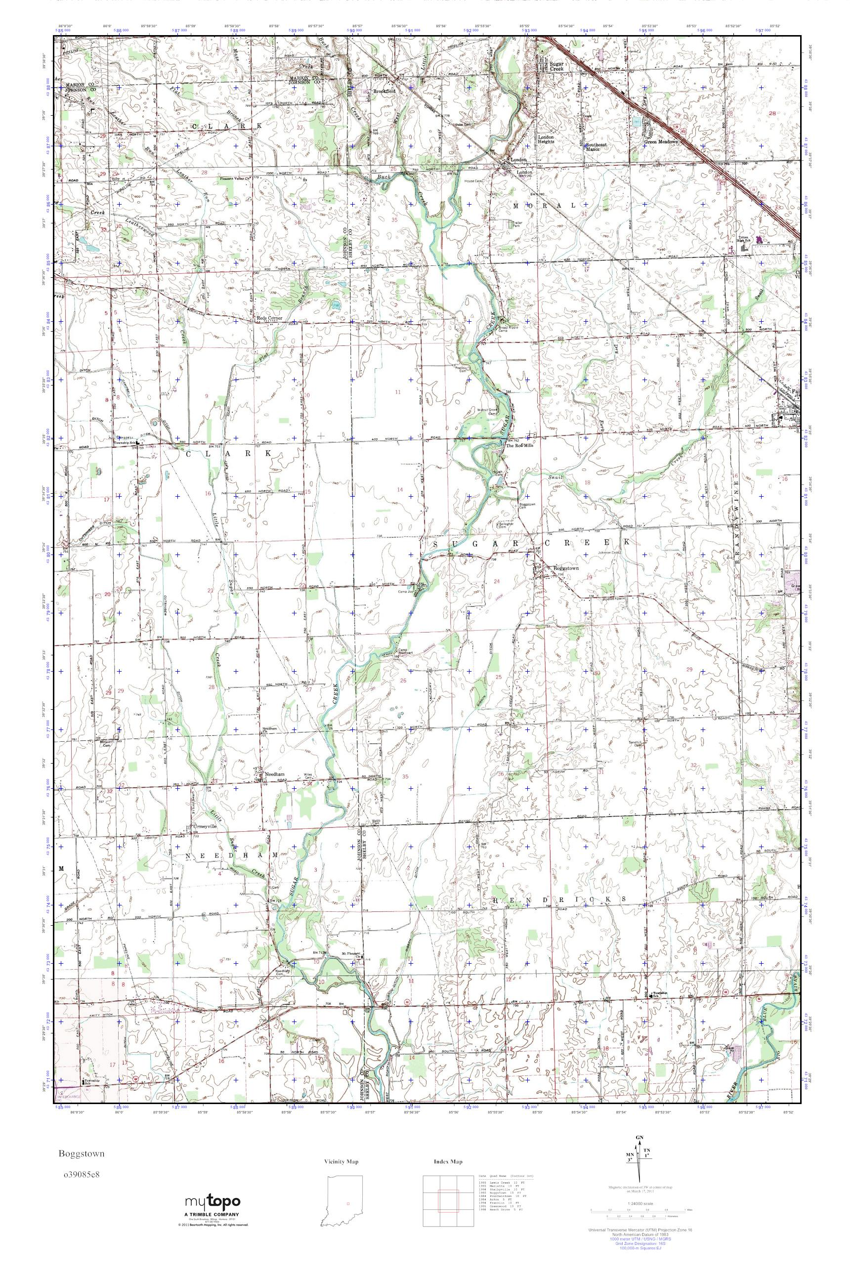 Boggstown Indiana Map.Mytopo Boggstown Indiana Usgs Quad Topo Map
