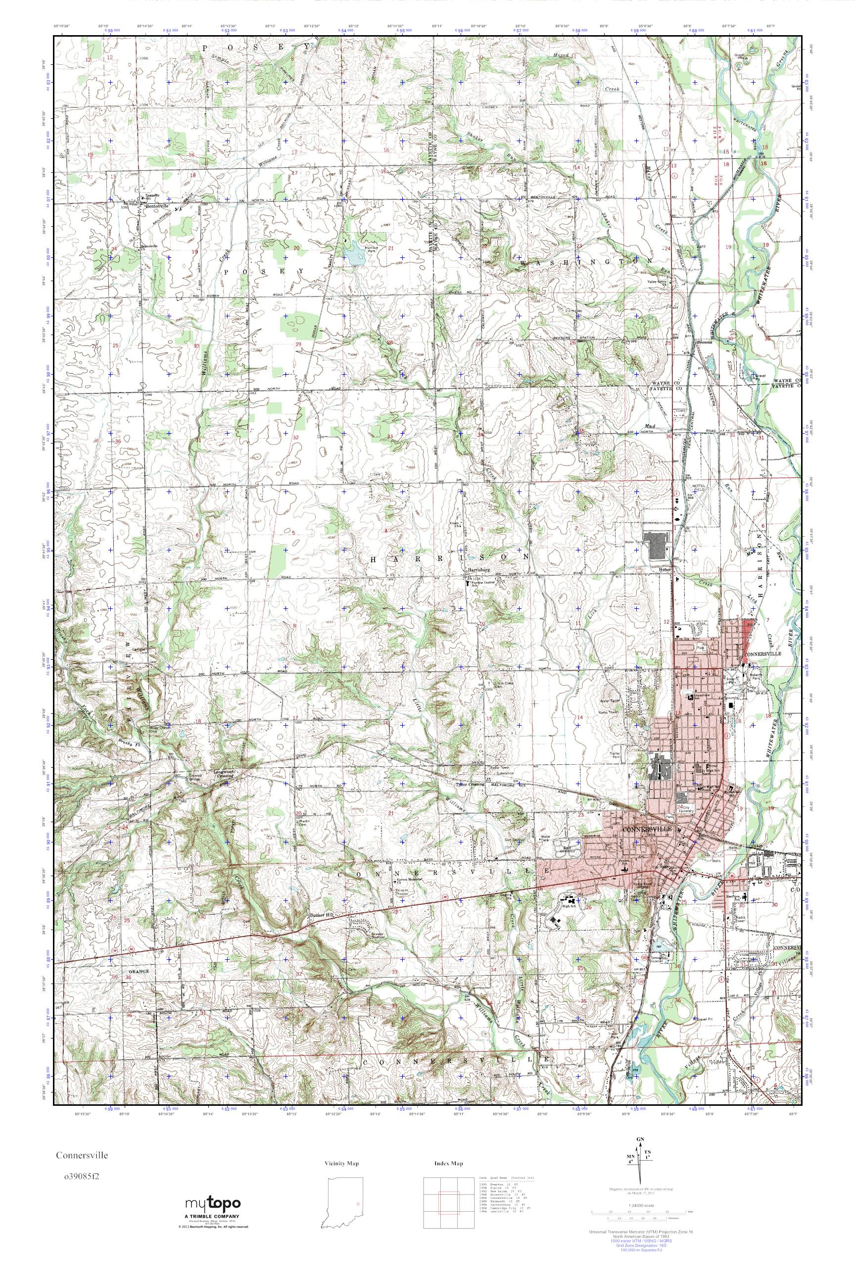 Mytopo Connersville Indiana Usgs Quad Topo Map