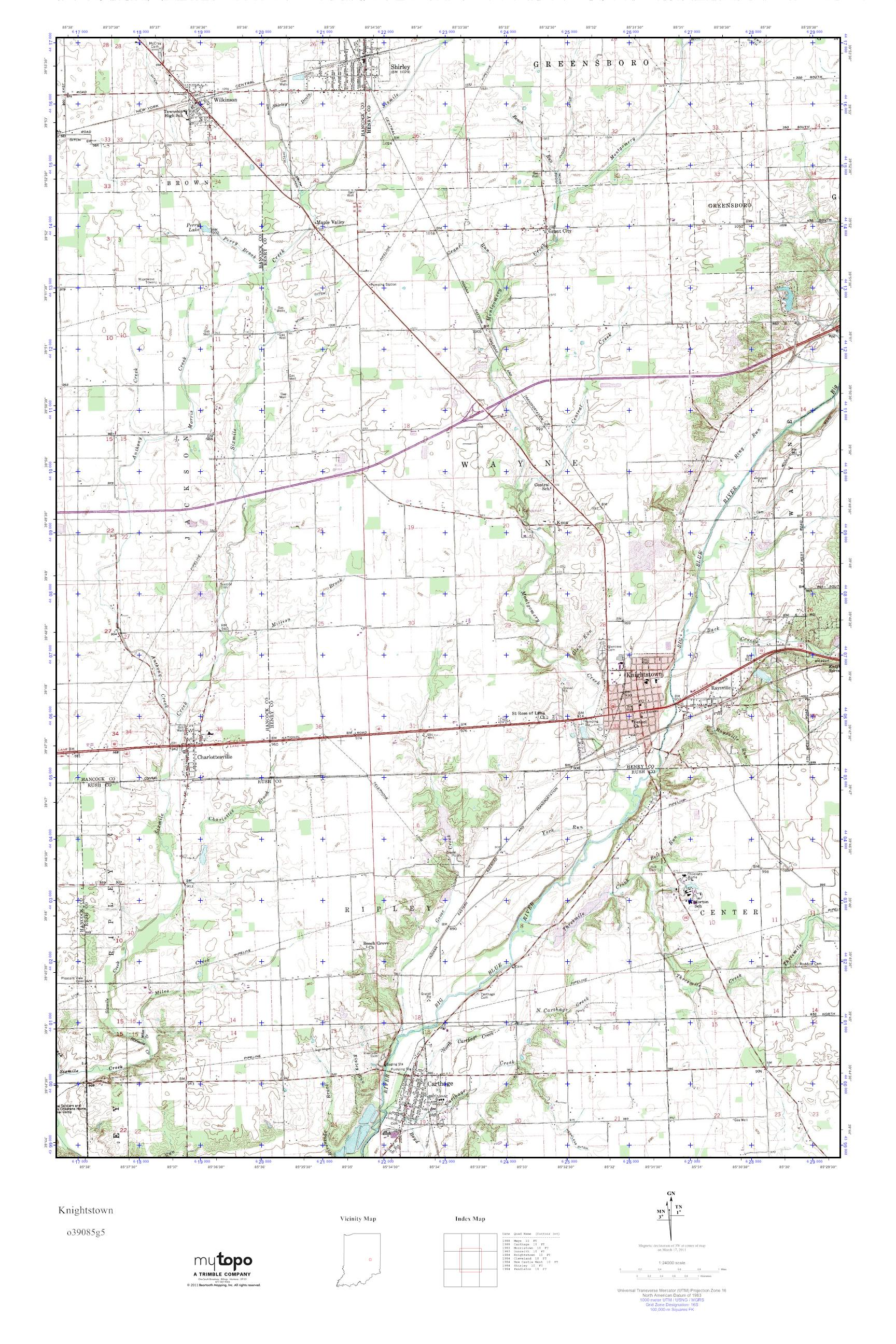 Knightstown Indiana Map.Mytopo Knightstown Indiana Usgs Quad Topo Map
