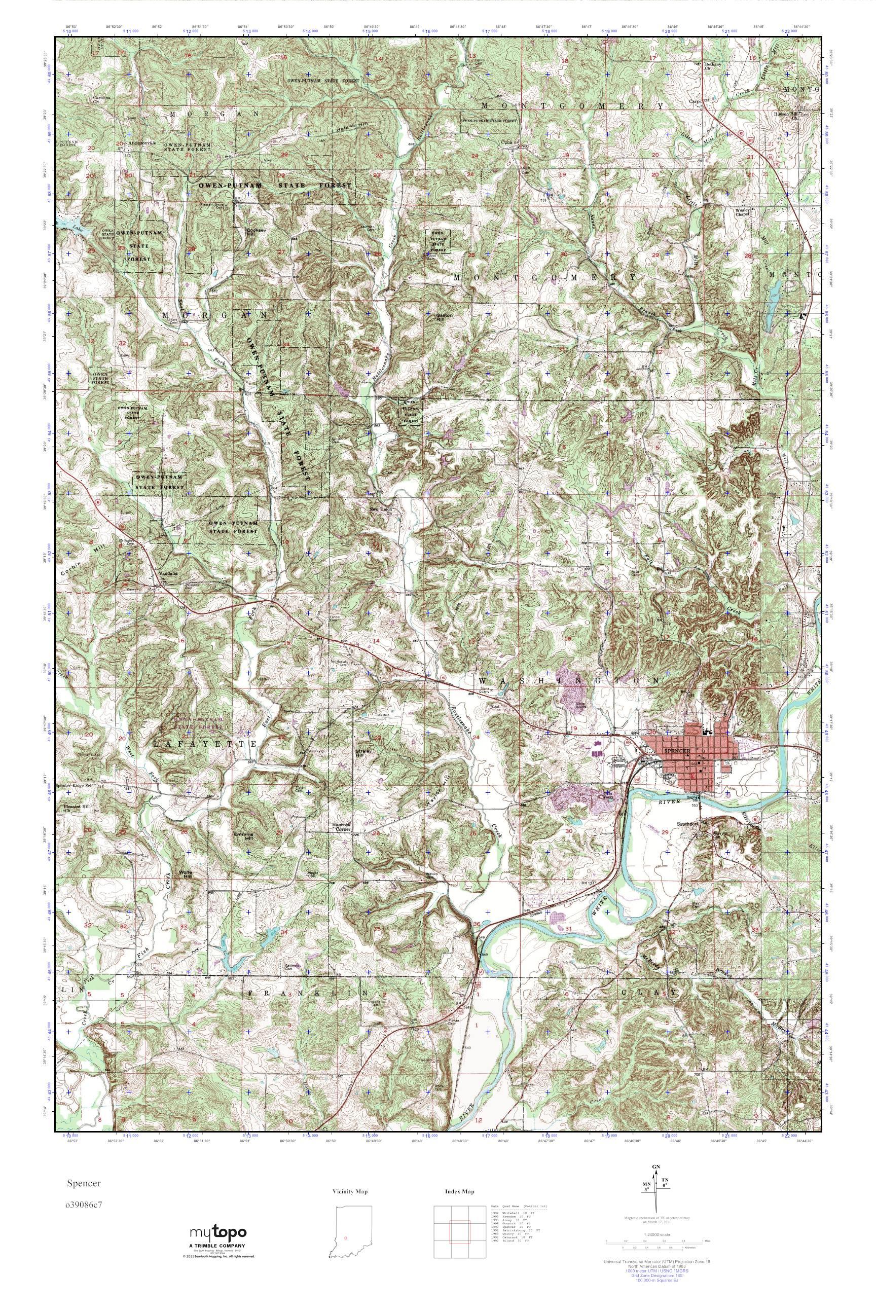 Mytopo Spencer Indiana Usgs Quad Topo Map