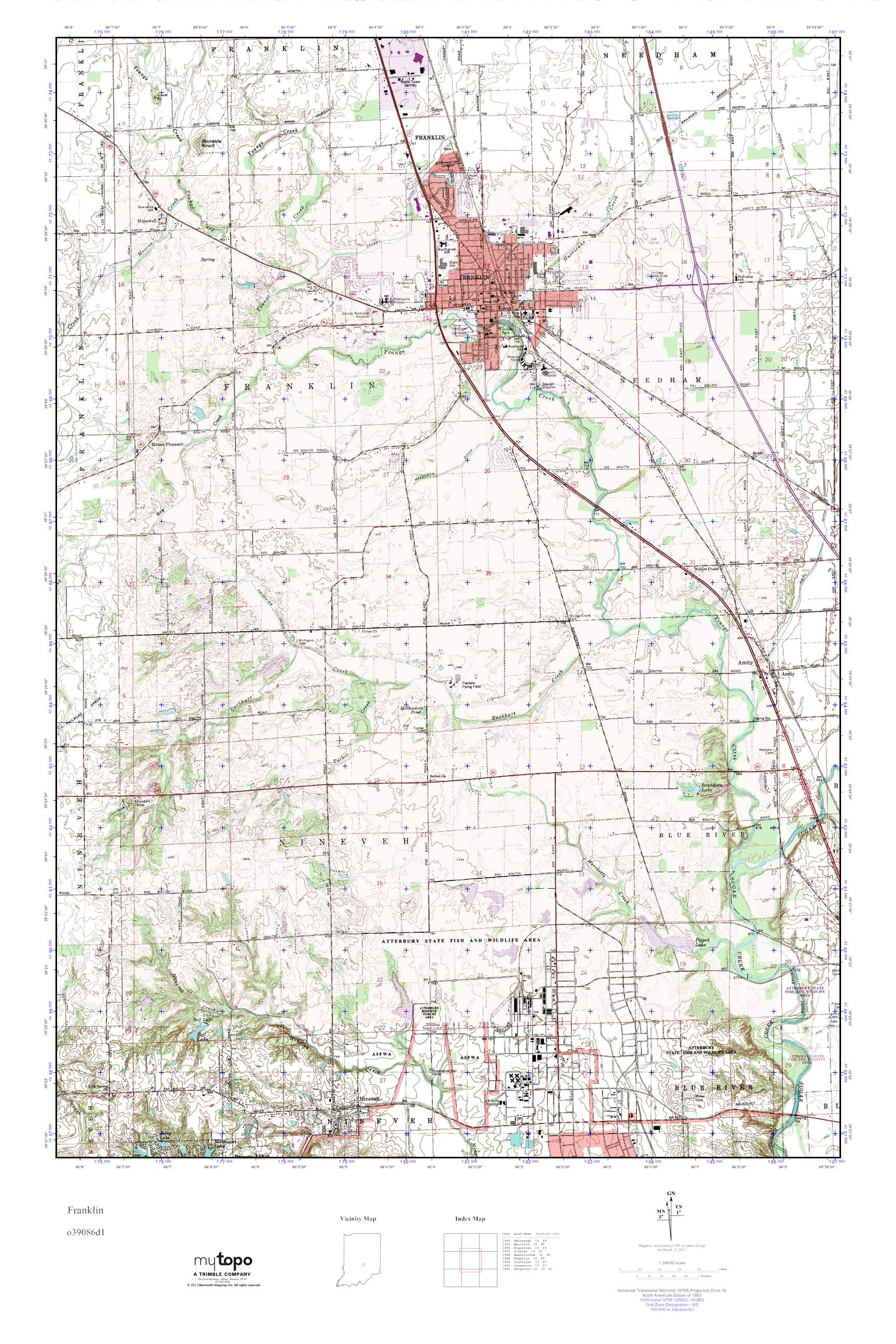 Mytopo Franklin Indiana Usgs Quad Topo Map