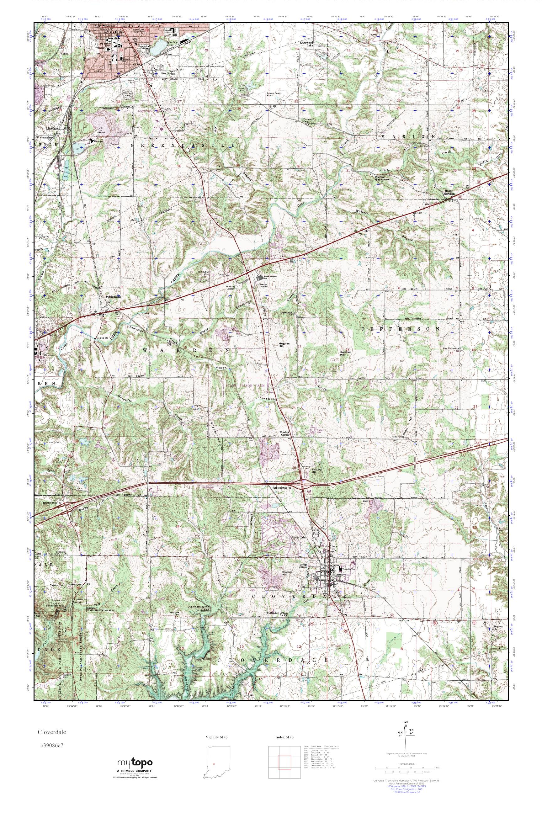 MyTopo Cloverdale Indiana USGS Quad Topo Map