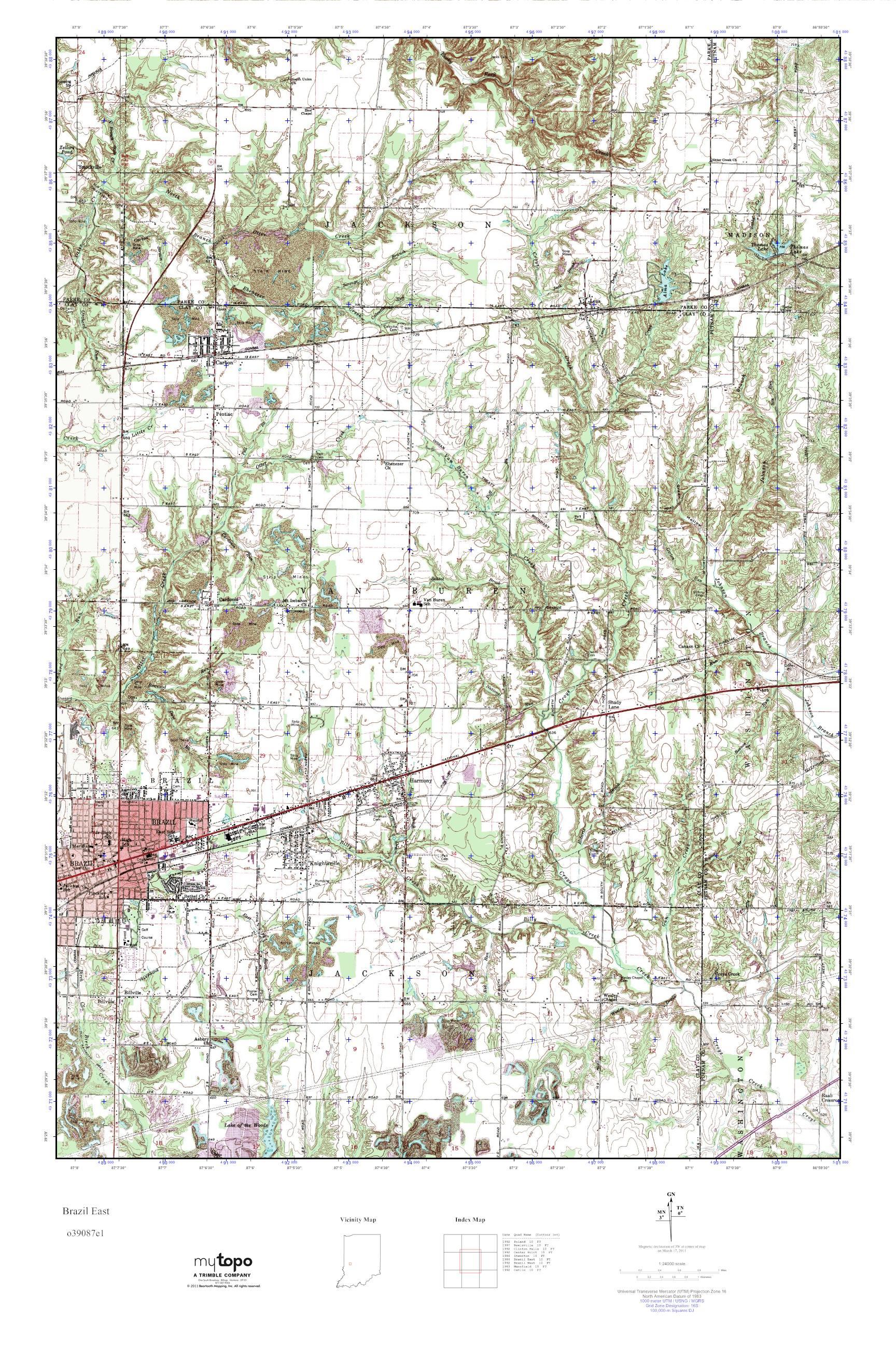 Mytopo Brazil East Indiana Usgs Quad Topo Map