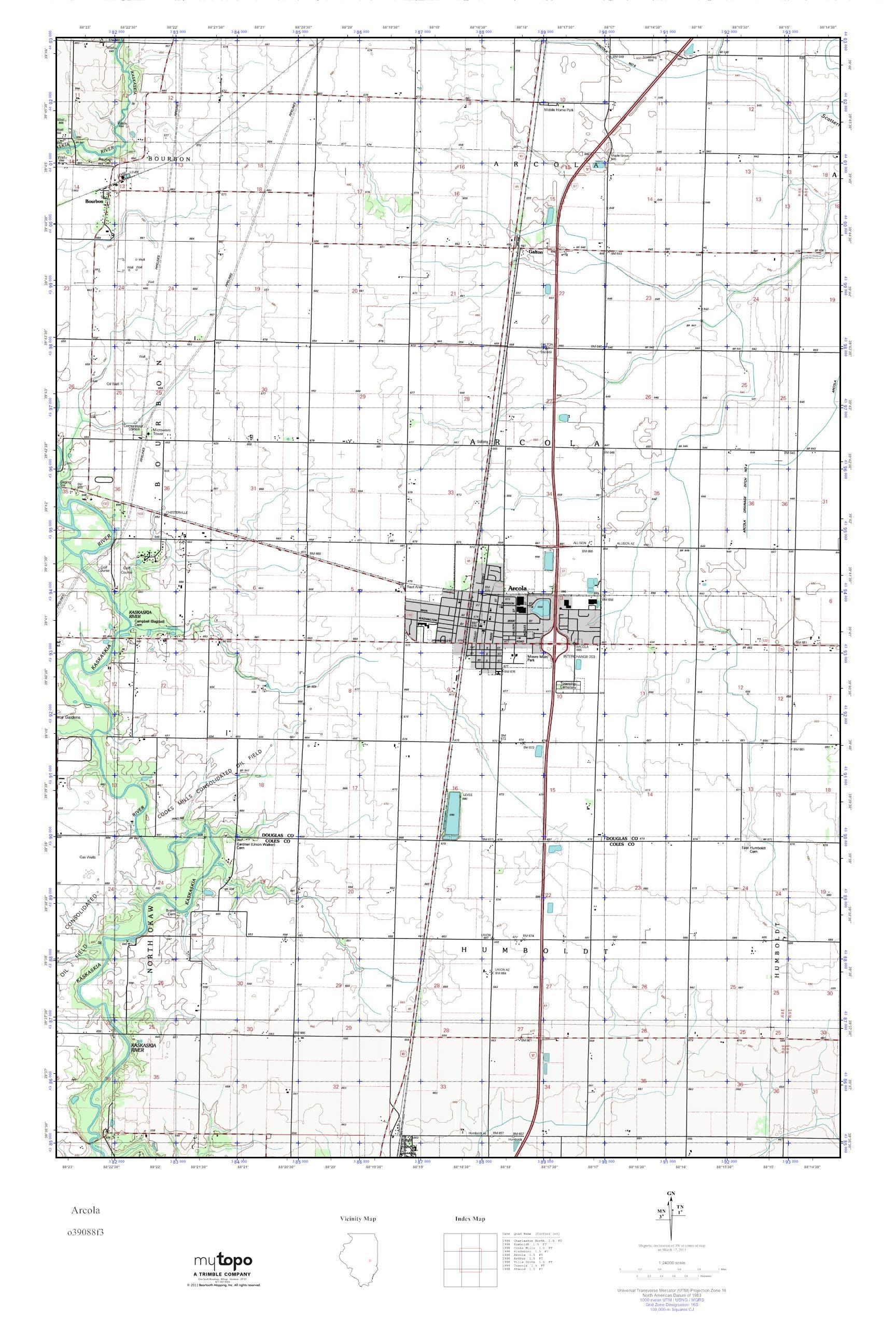 Mytopo Arcola Illinois Usgs Quad Topo Map