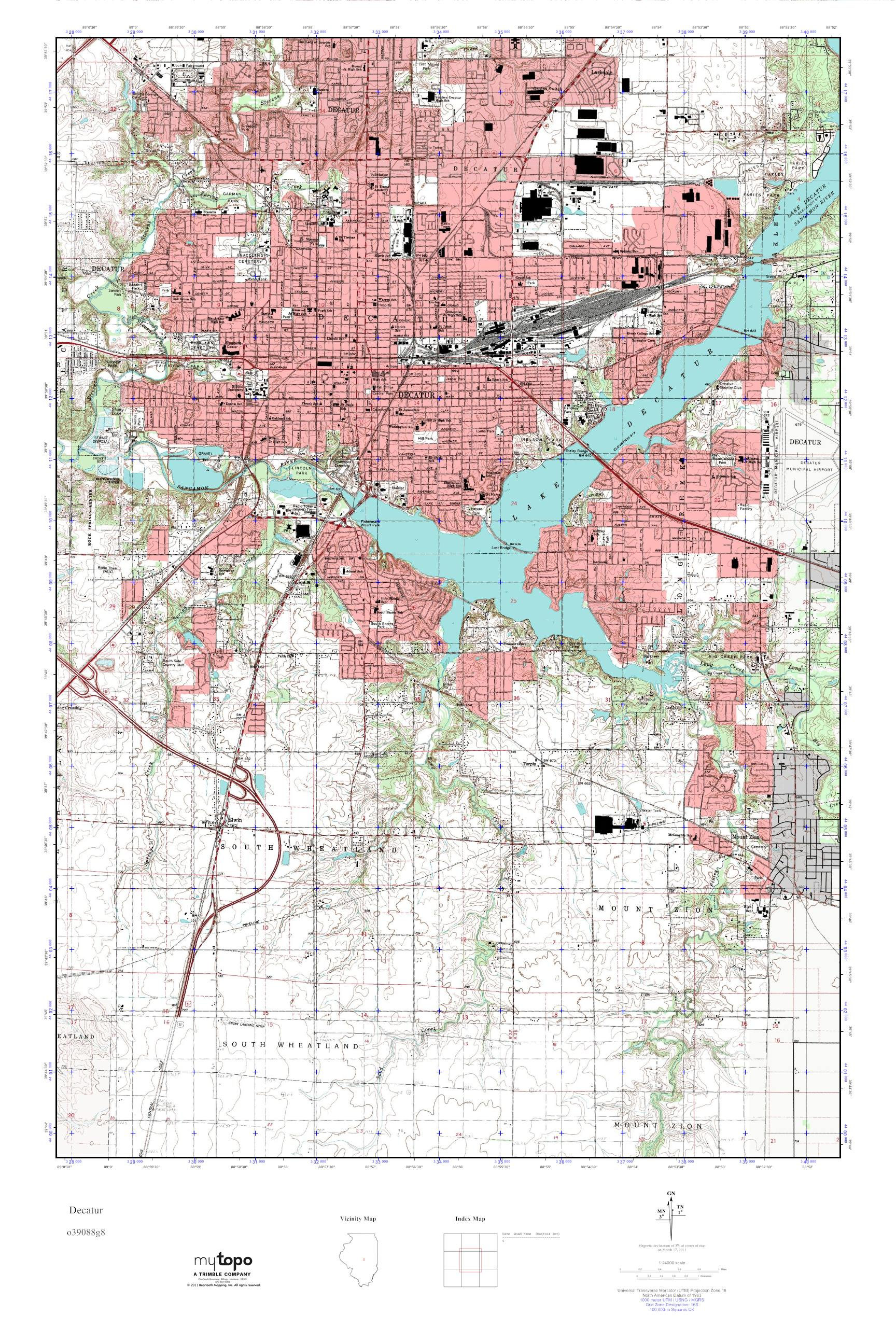Decatur Illinois Map.Mytopo Decatur Illinois Usgs Quad Topo Map