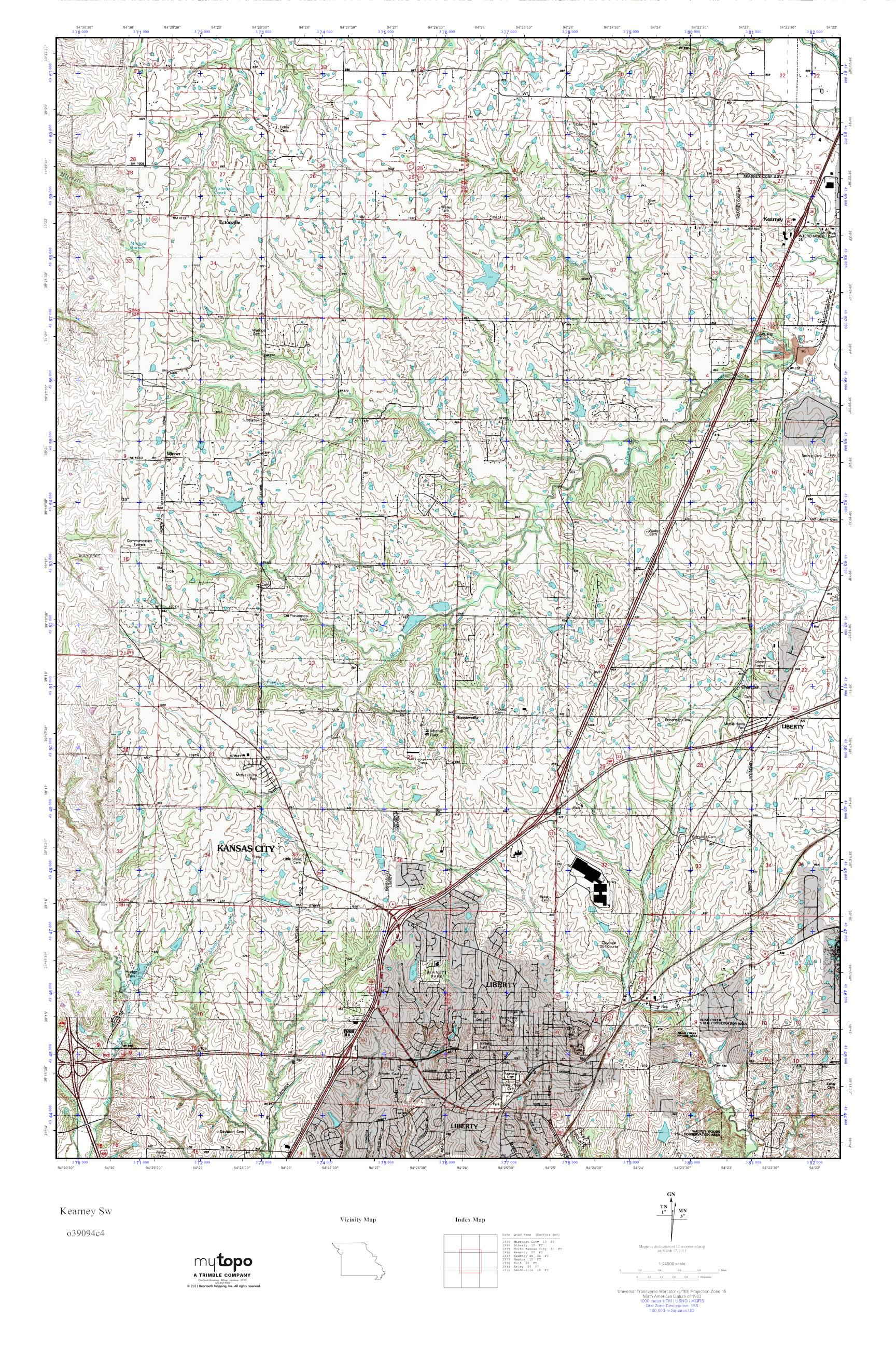 Mytopo Kearney Sw Missouri Usgs Quad Topo Map