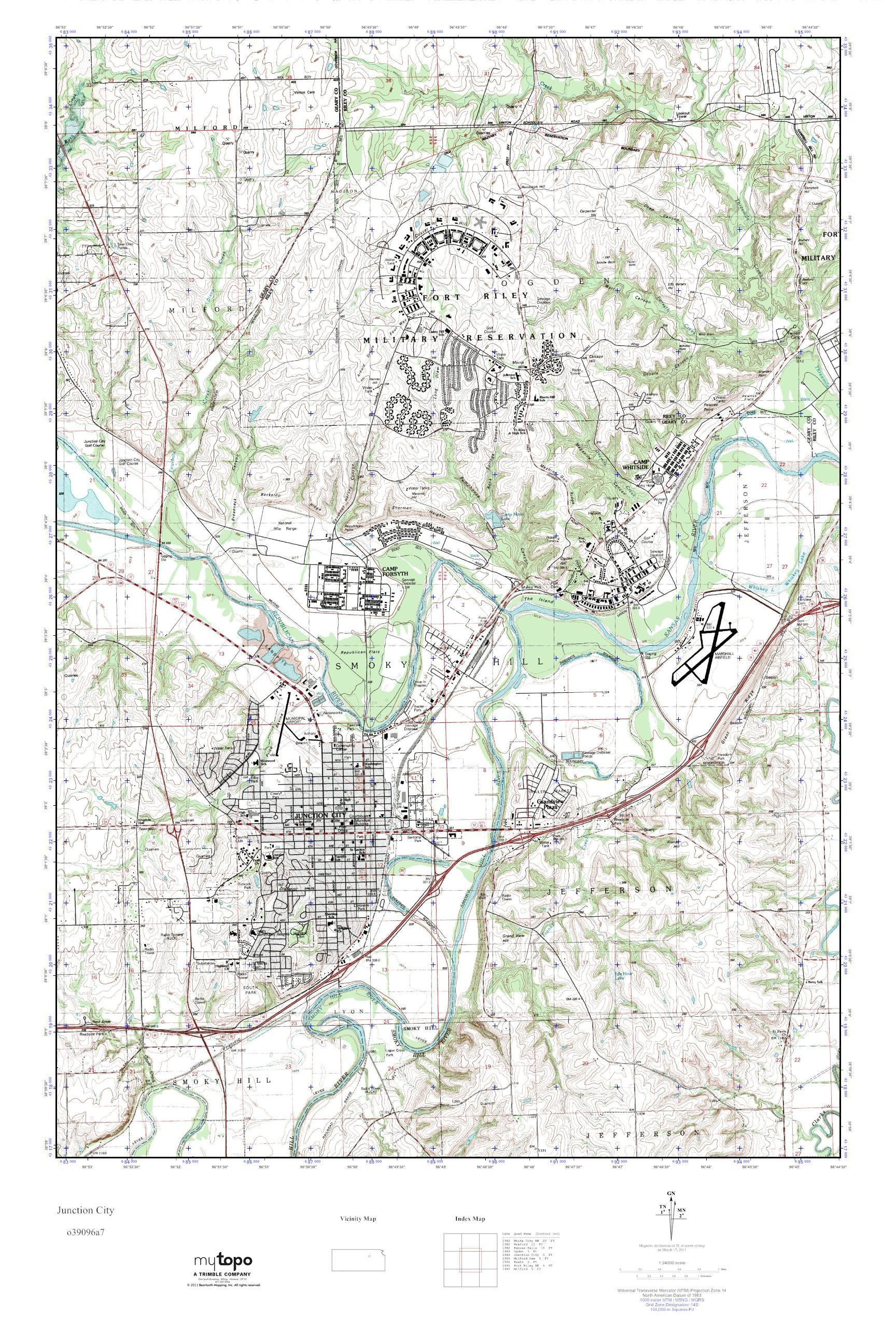 Junction City Kansas Map.Mytopo Junction City Kansas Usgs Quad Topo Map