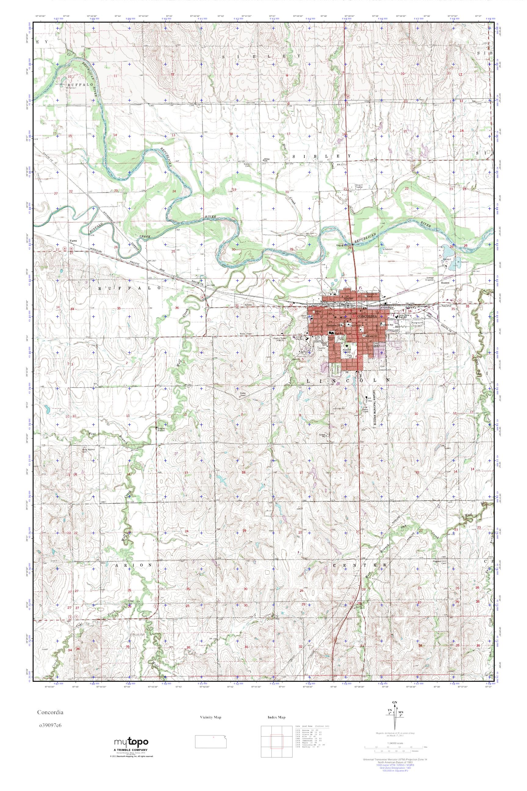 Concordia Kansas Map.Mytopo Concordia Kansas Usgs Quad Topo Map