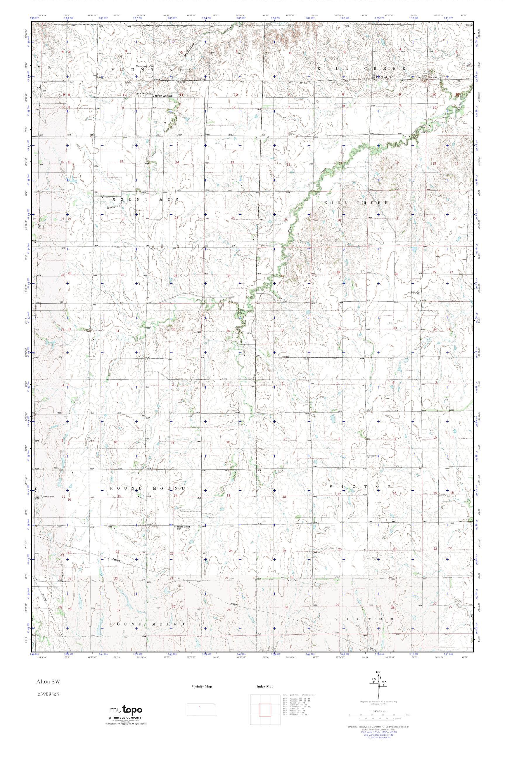 Alton Kansas Map.Mytopo Alton Sw Kansas Usgs Quad Topo Map