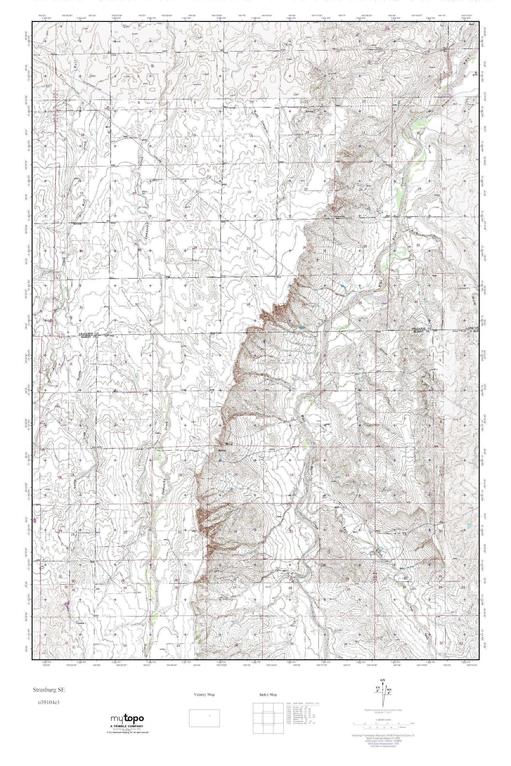 Se Colorado Map.Mytopo Strasburg Se Colorado Usgs Quad Topo Map