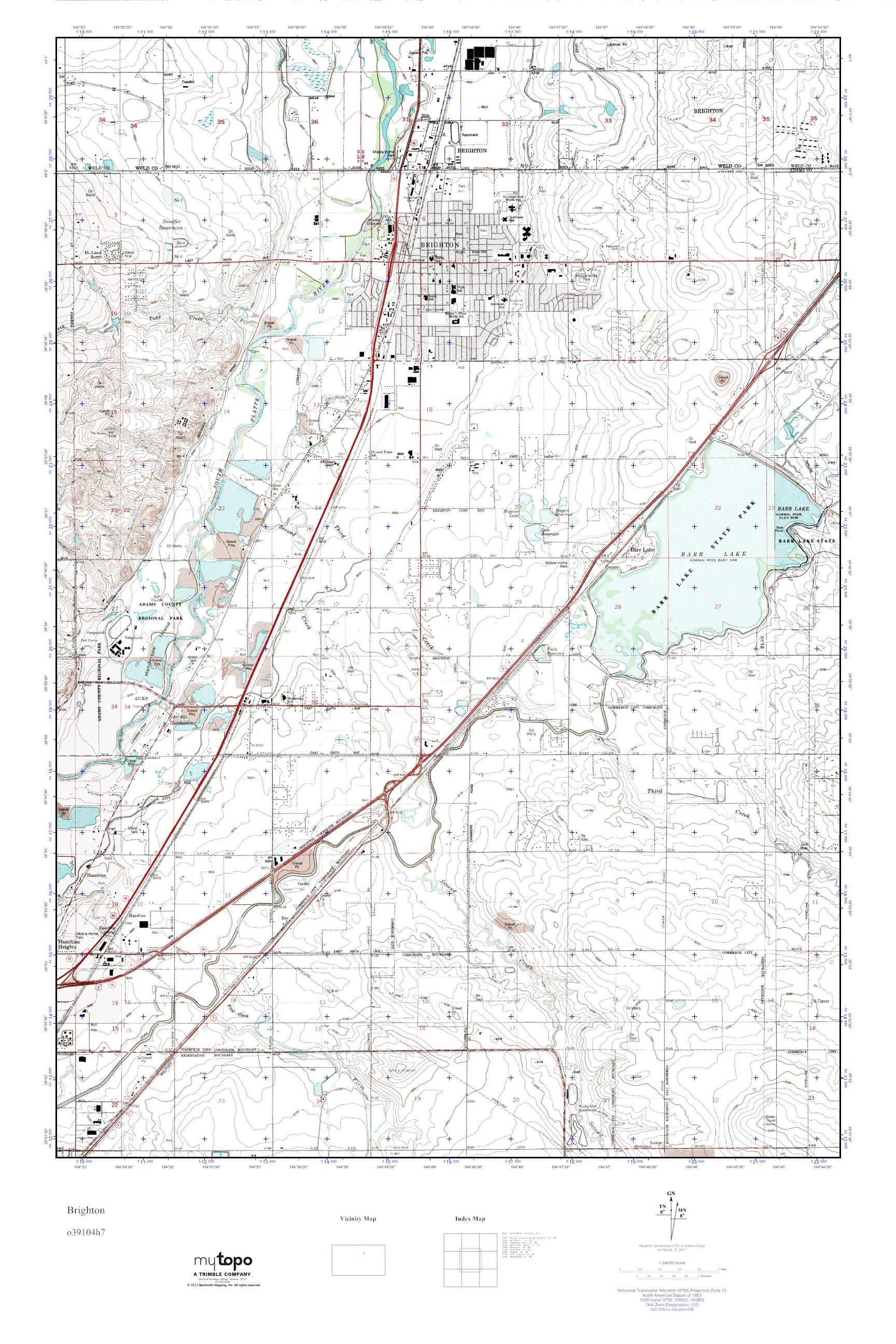 Brighton Colorado Map.Mytopo Brighton Colorado Usgs Quad Topo Map