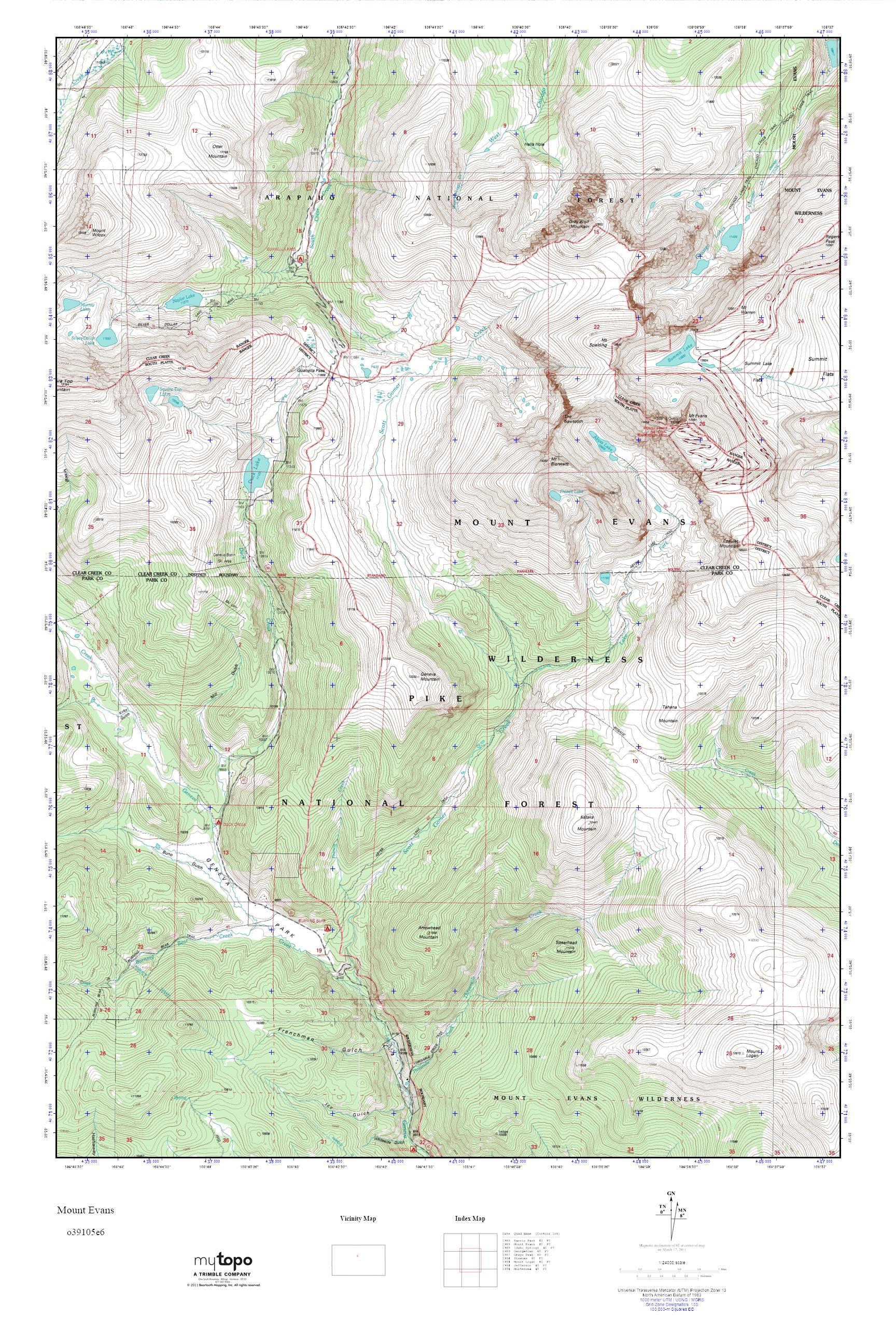 MyTopo Mount Evans Colorado USGS Quad Topo Map - Colorado topo maps