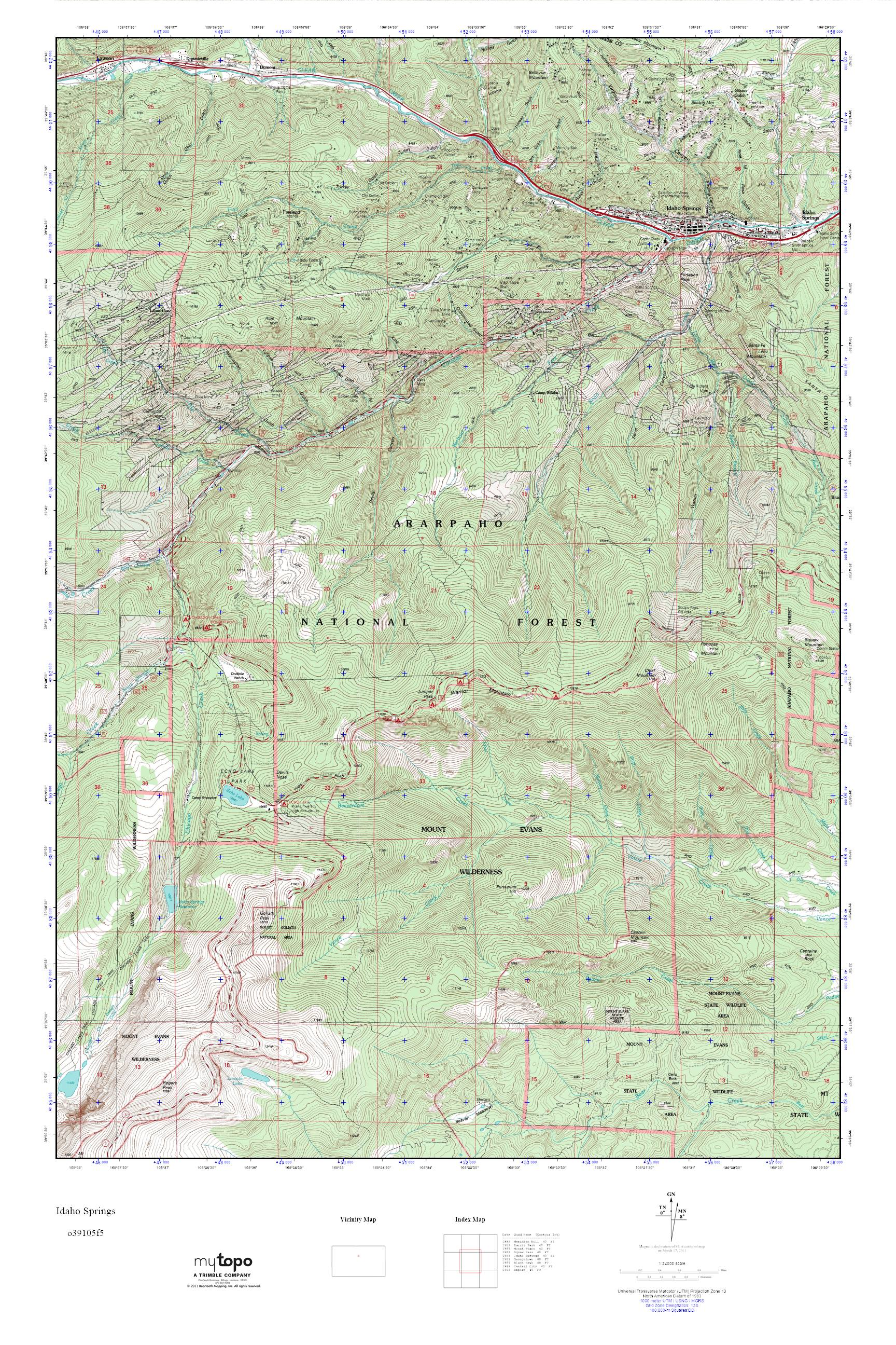 Topographic Map Colorado Springs.Mytopo Idaho Springs Colorado Usgs Quad Topo Map