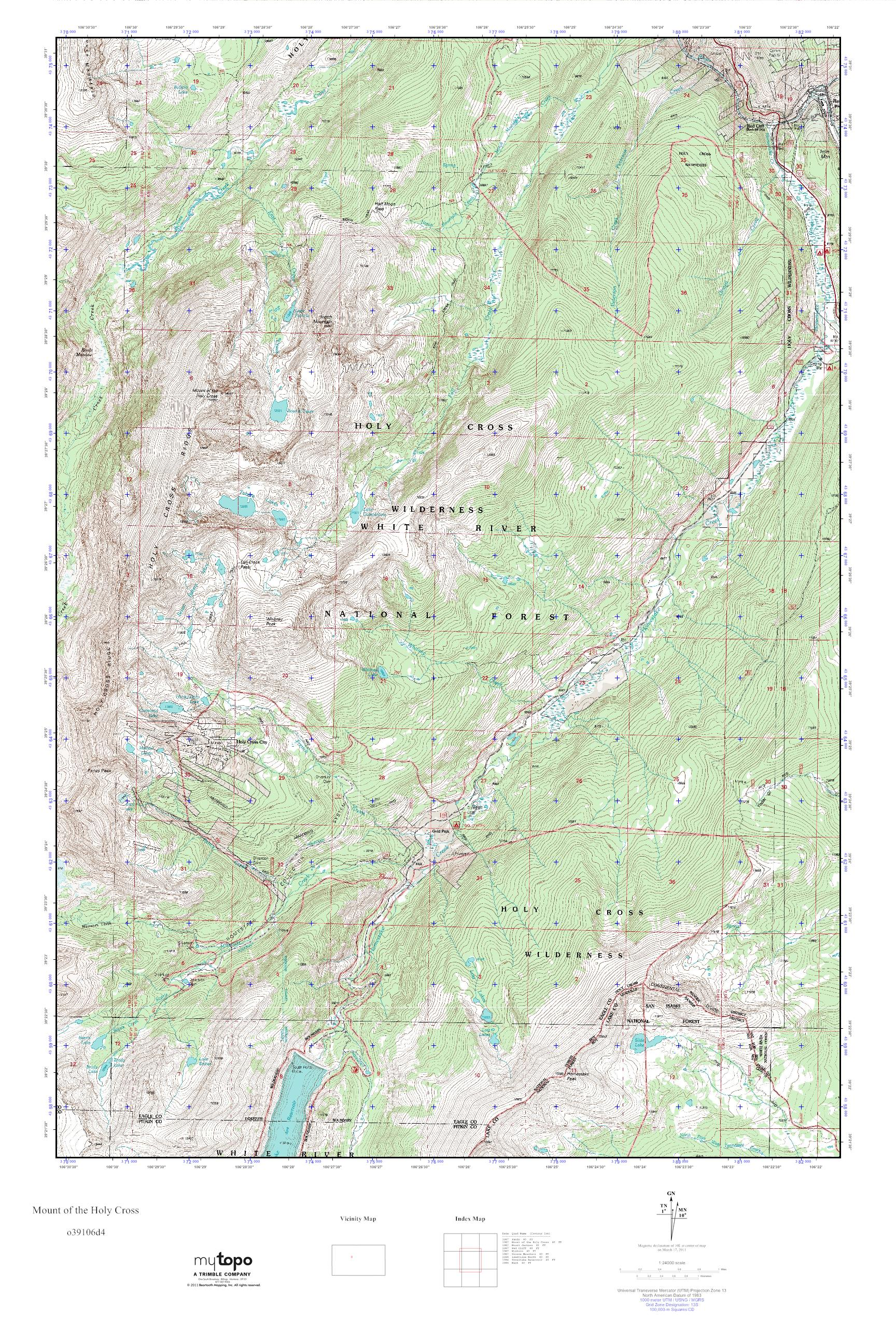 MyTopo Mount of the Holy Cross, Colorado USGS Quad Topo Map