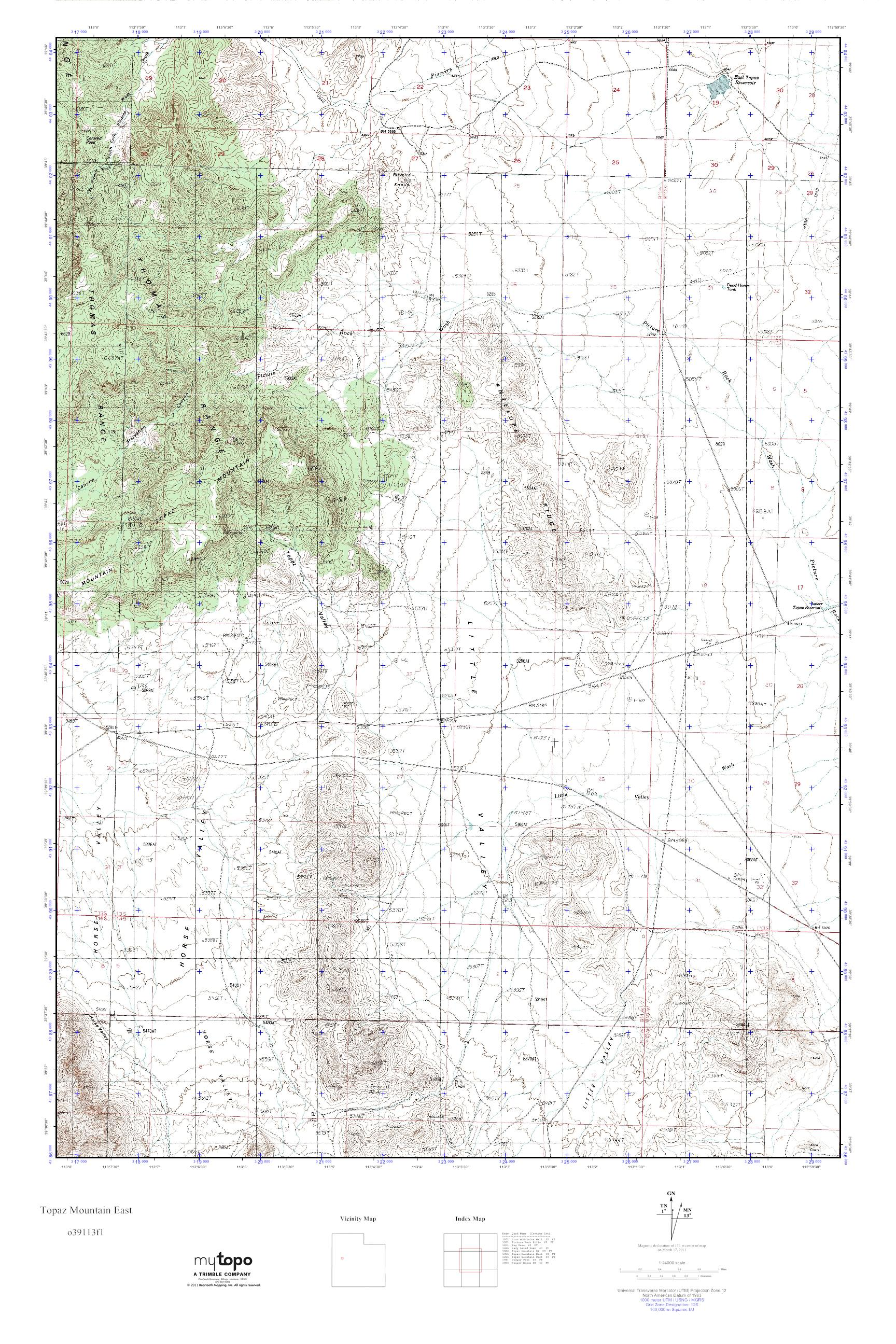 Topaz Mountain Utah Map.Mytopo Topaz Mountain East Utah Usgs Quad Topo Map