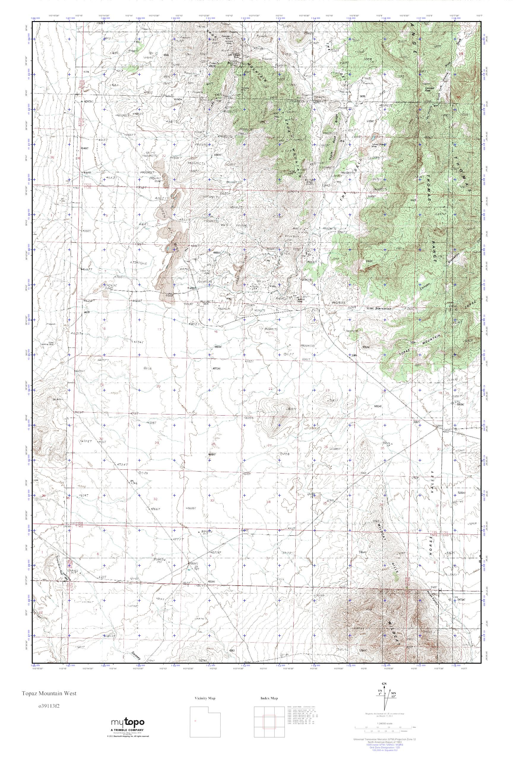 Topaz Mountain Utah Map.Mytopo Topaz Mountain West Utah Usgs Quad Topo Map