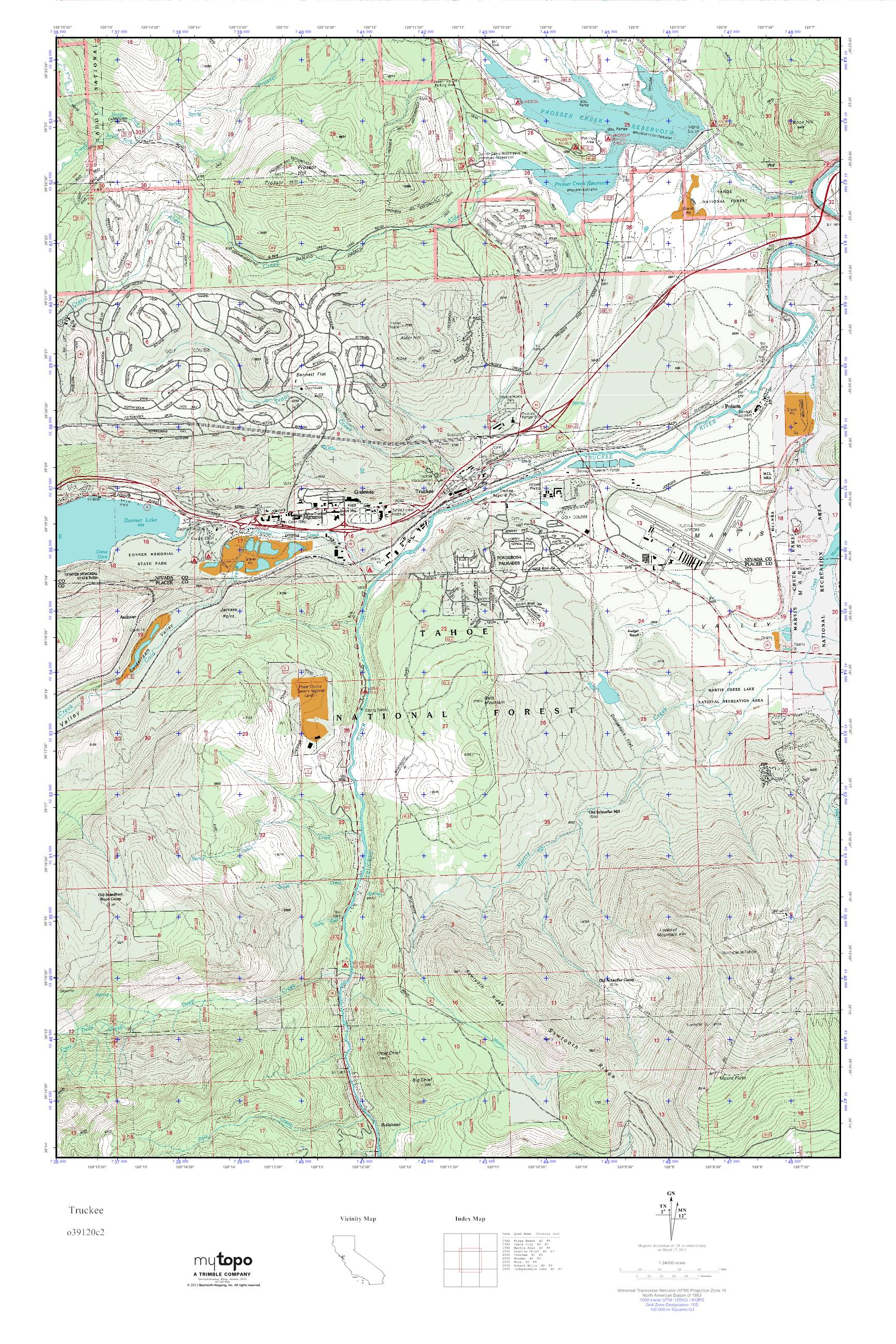 Mytopo Truckee California Usgs Quad Topo Map