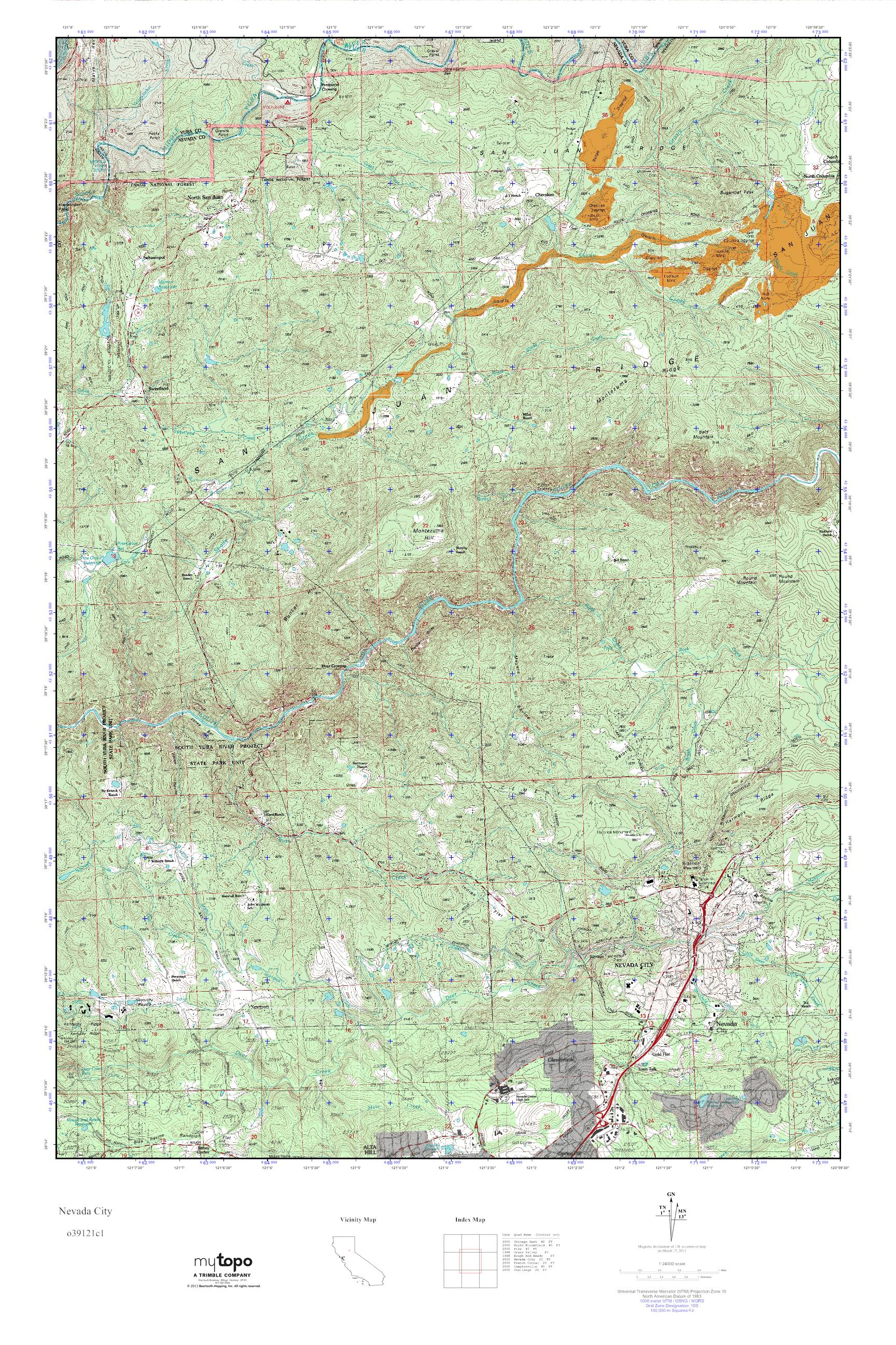 Topographic Map Of Nevada.Mytopo Nevada City California Usgs Quad Topo Map