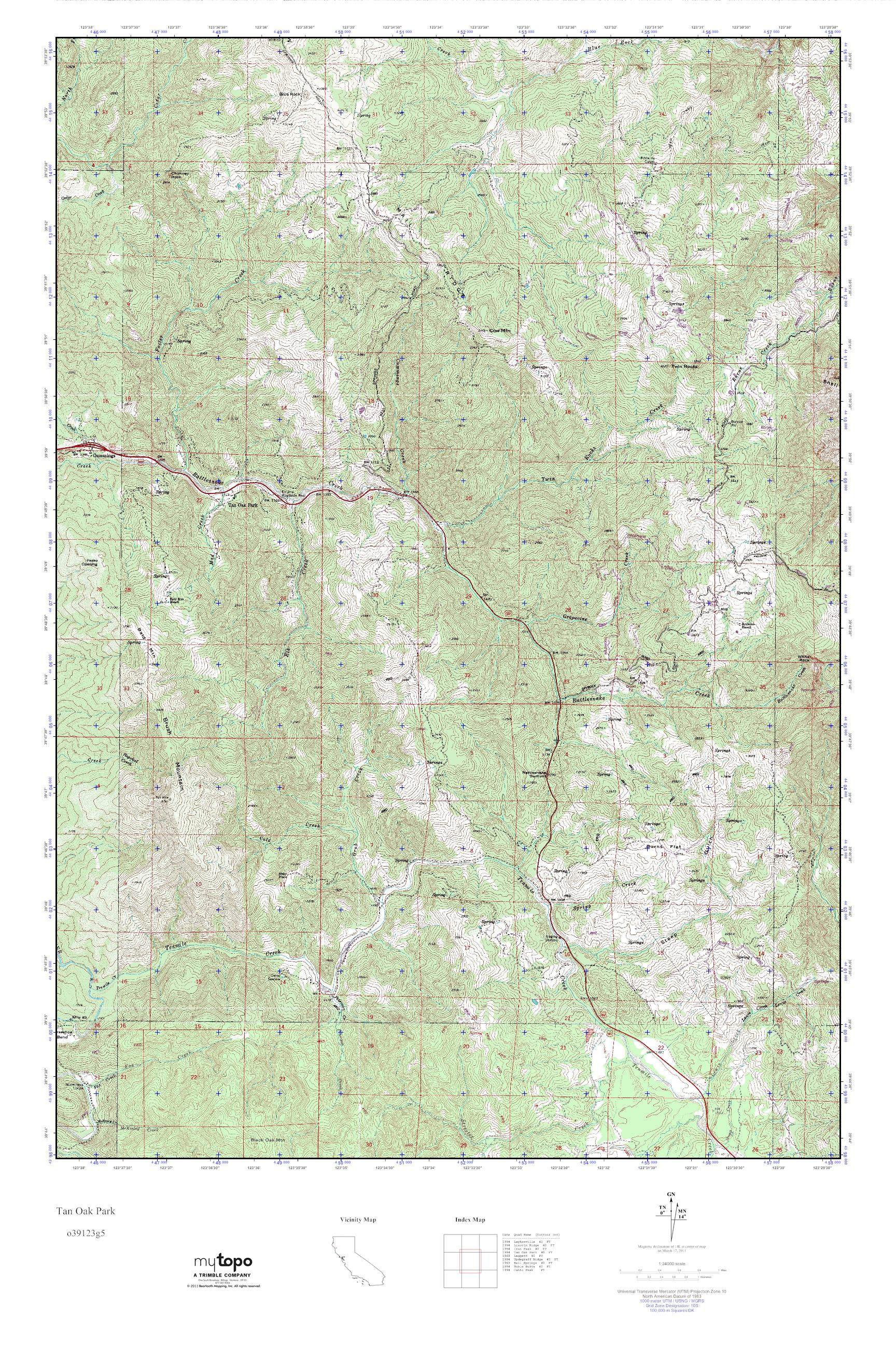 Oak Park California Map.Mytopo Tan Oak Park California Usgs Quad Topo Map