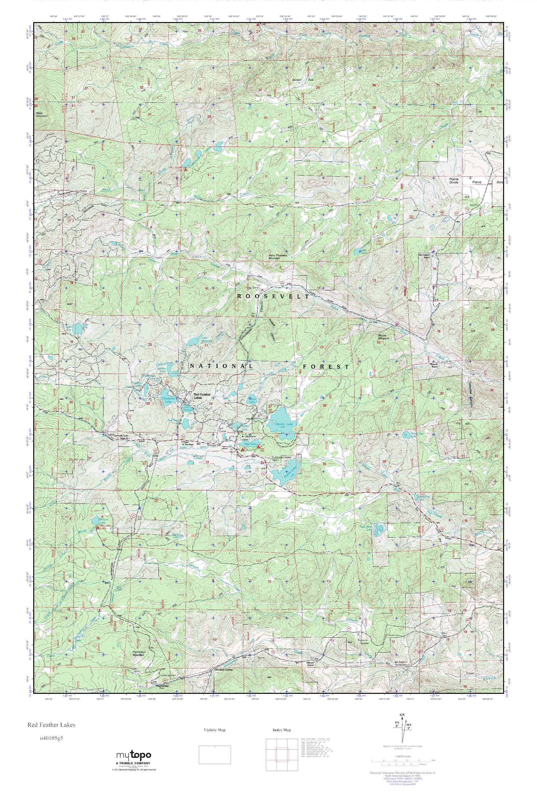 red feather lakes map Mytopo Red Feather Lakes Colorado Usgs Quad Topo Map red feather lakes map