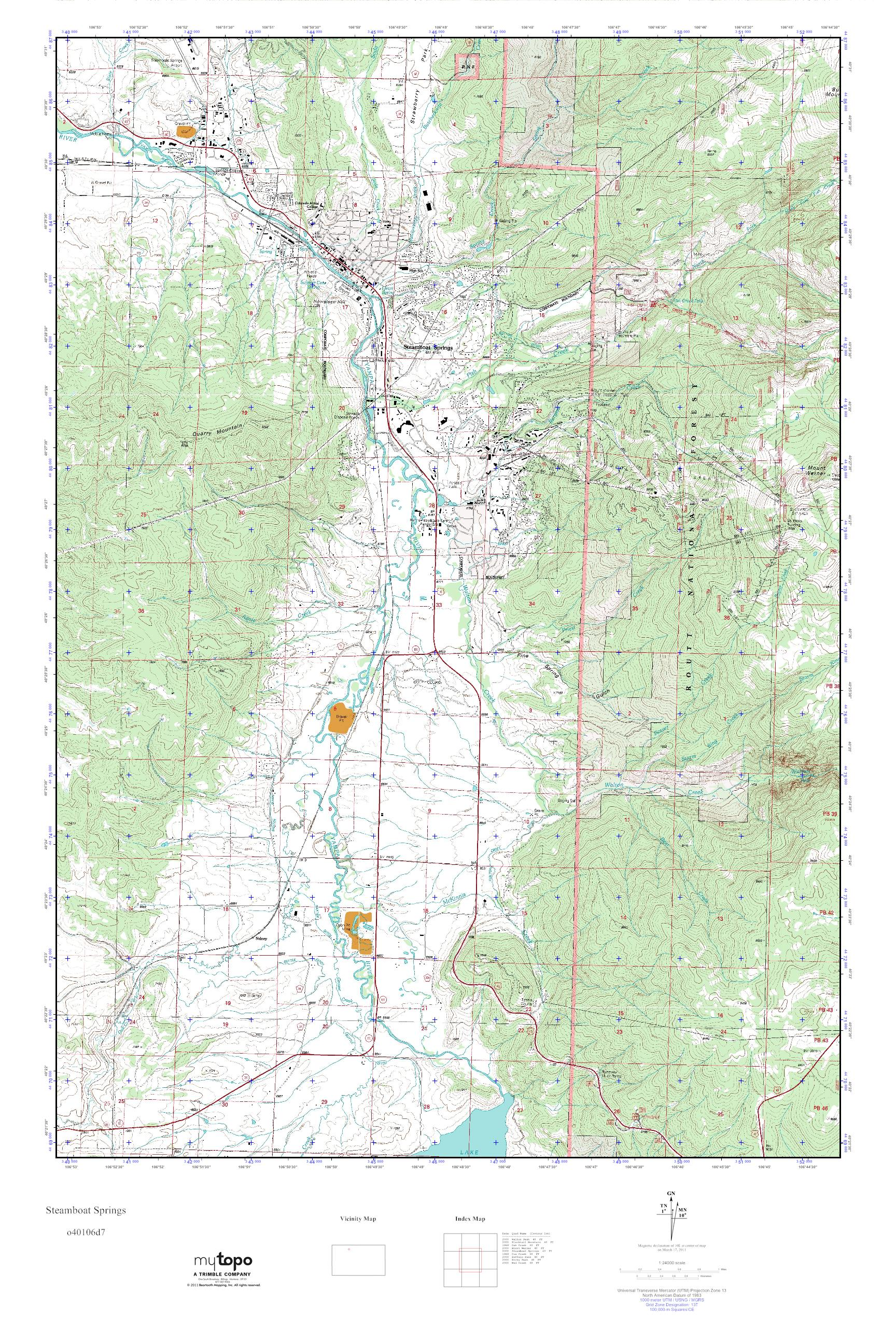 Topographic Map Colorado Springs.Mytopo Steamboat Springs Colorado Usgs Quad Topo Map