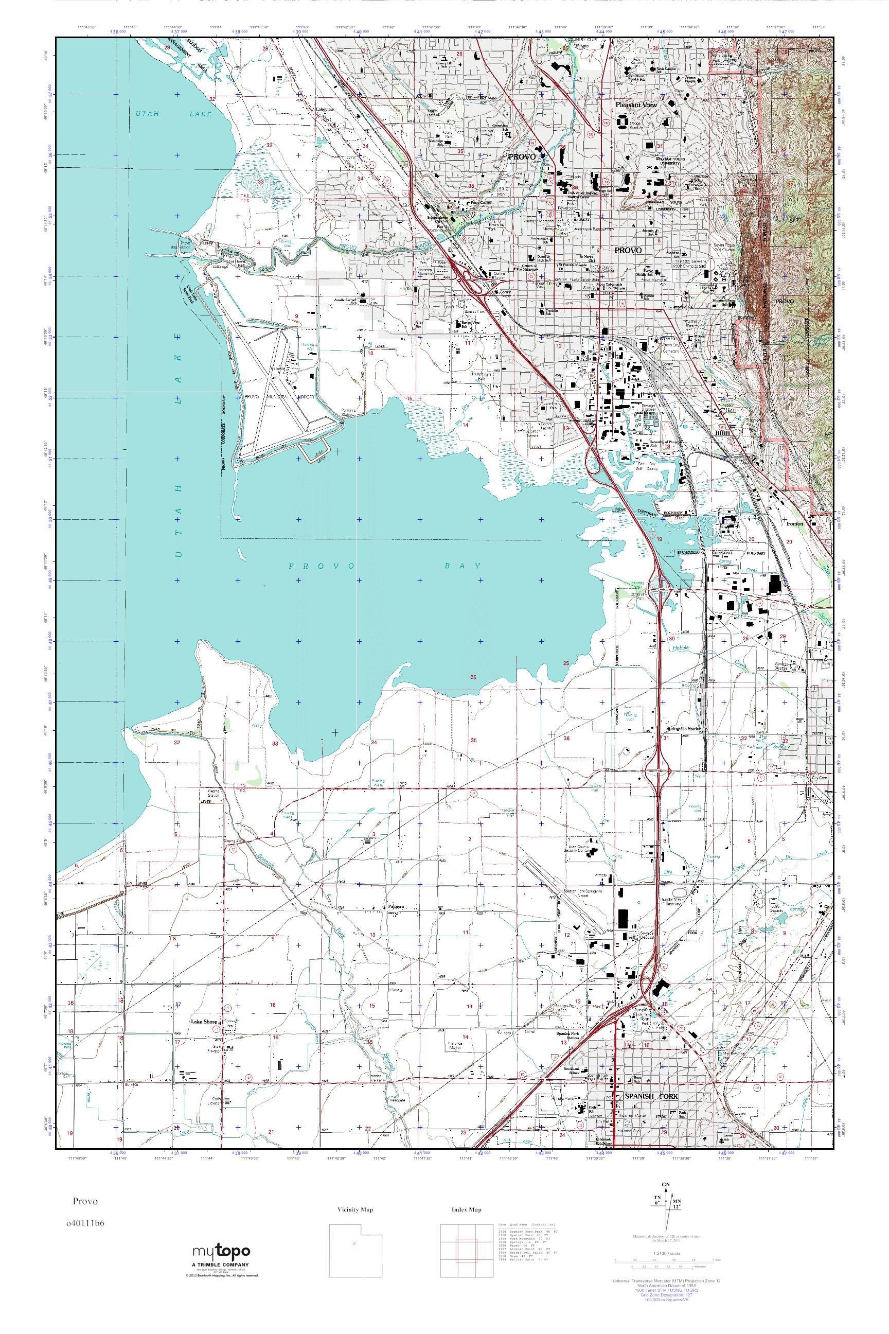 Mytopo Provo Utah Usgs Quad Topo Map