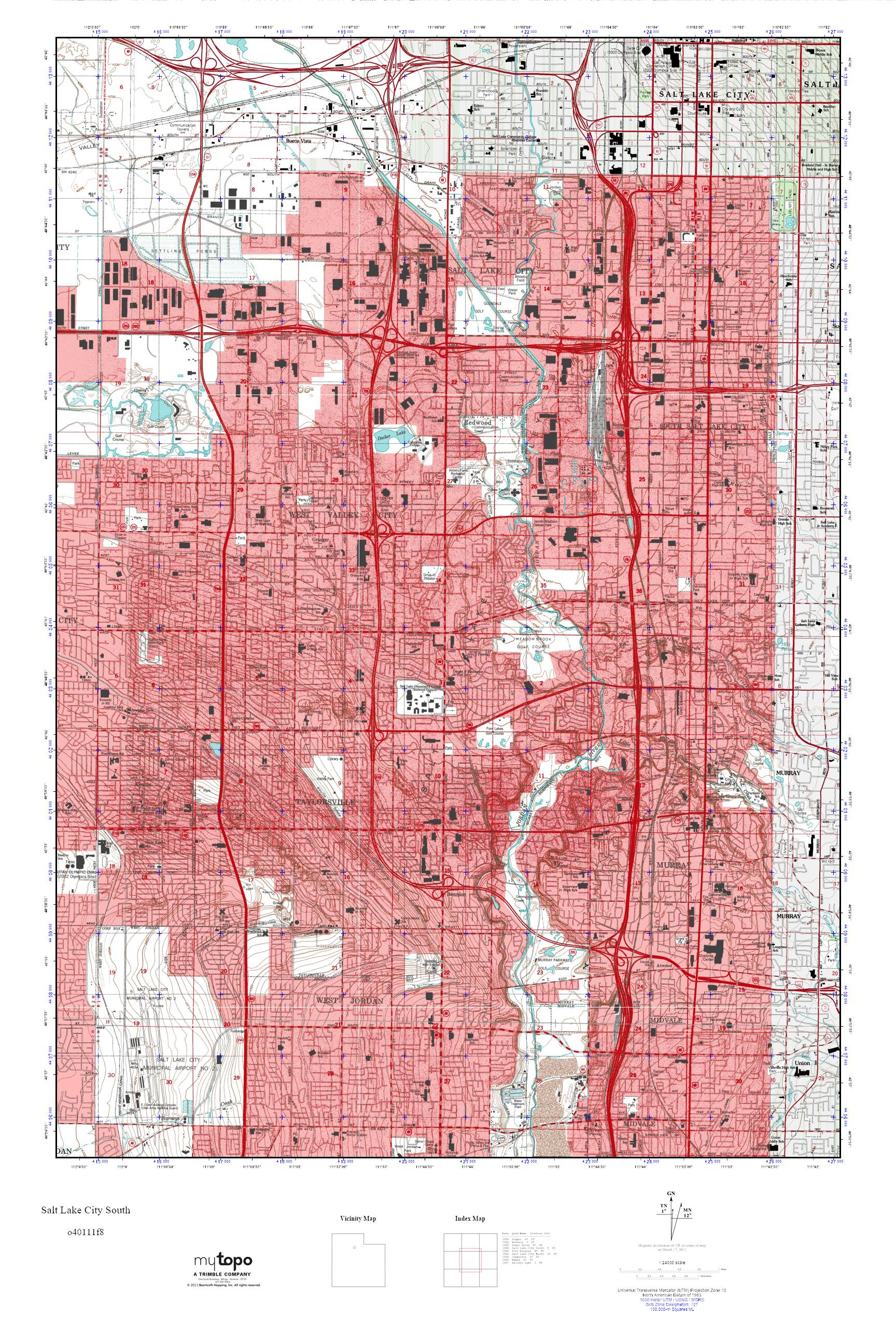MyTopo Salt Lake City South Utah USGS Quad Topo Map