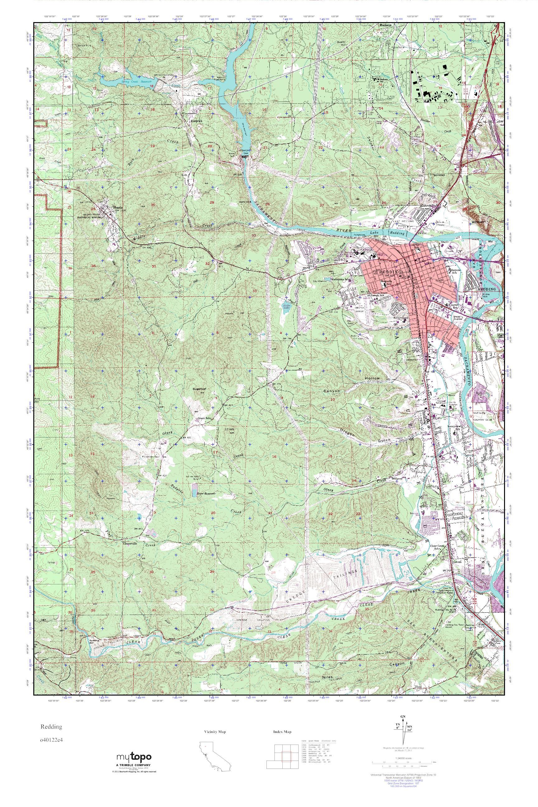 MyTopo Redding California USGS Quad Topo Map