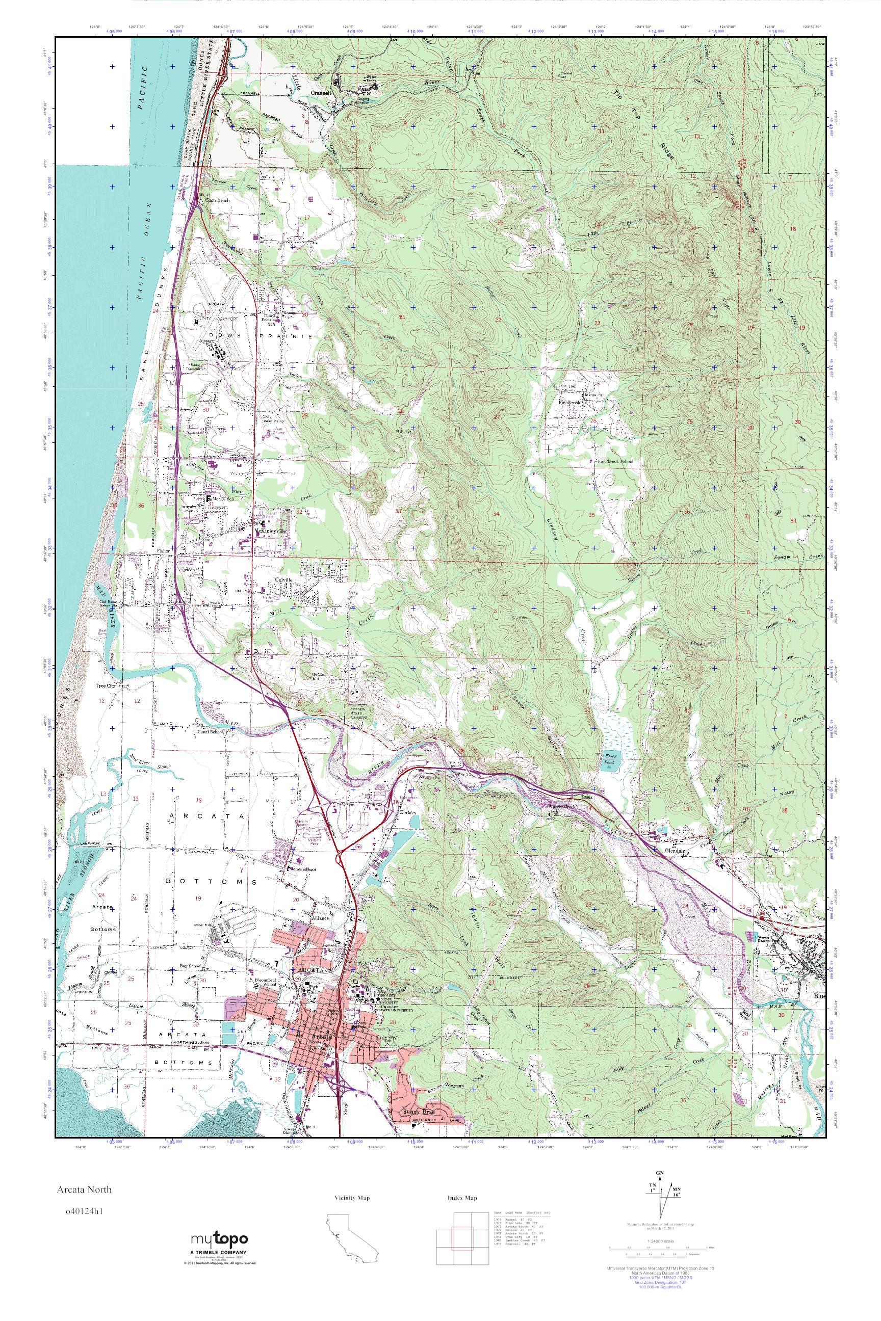 MyTopo Arcata North California USGS Quad Topo Map