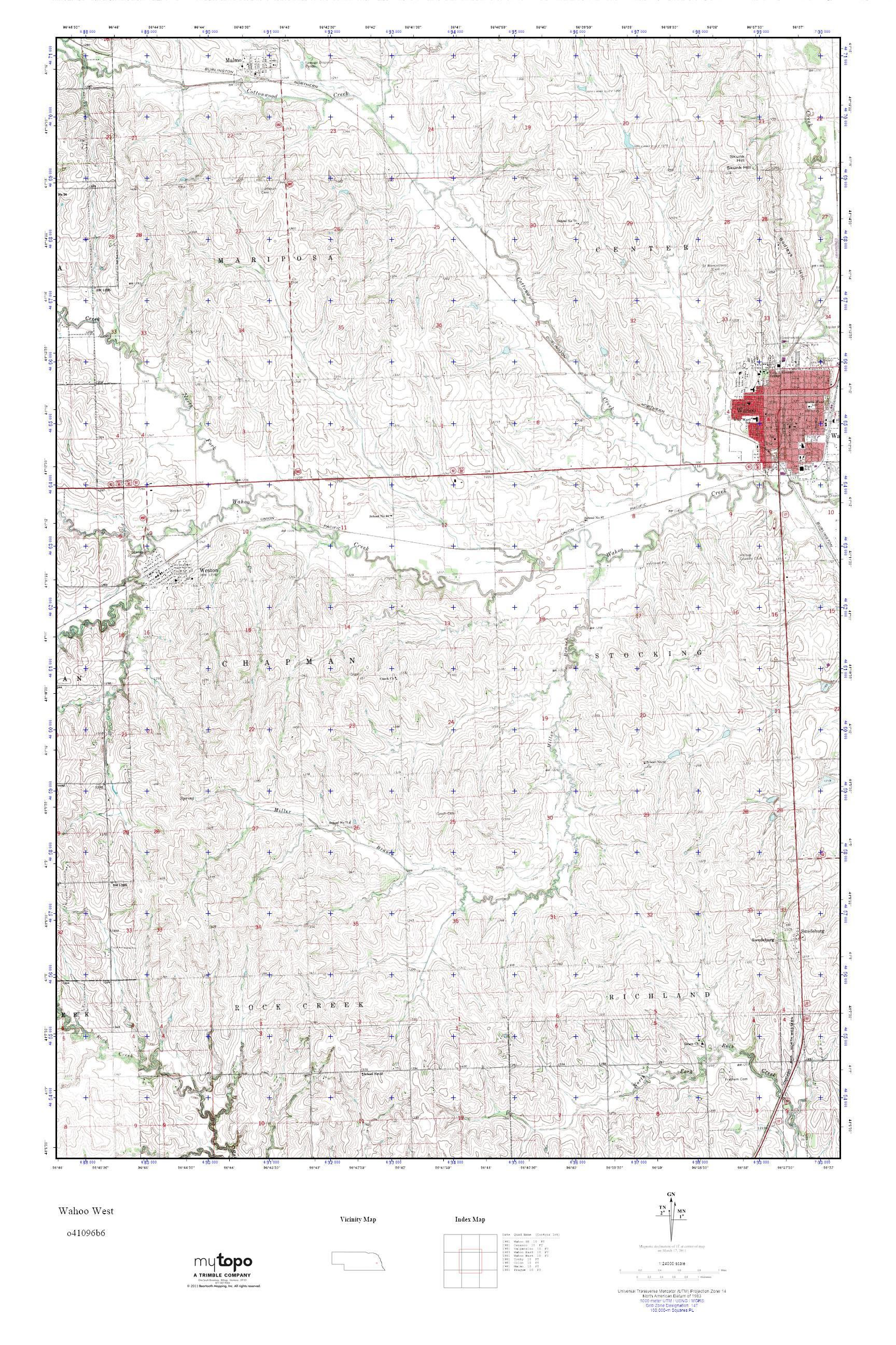 Mytopo Wahoo West Nebraska Usgs Quad Topo Map