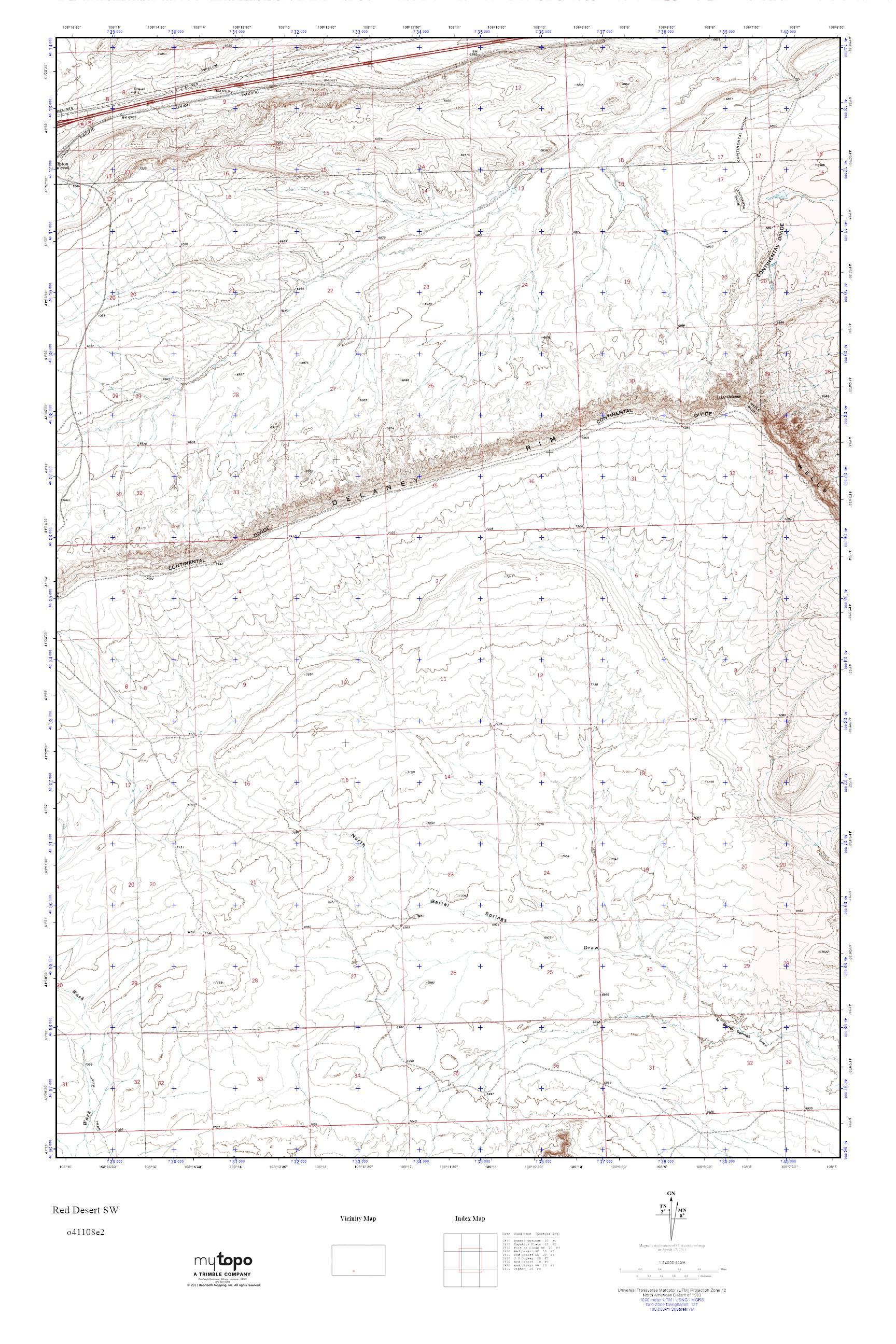 Mytopo Red Desert Sw Wyoming Usgs Quad Topo Map