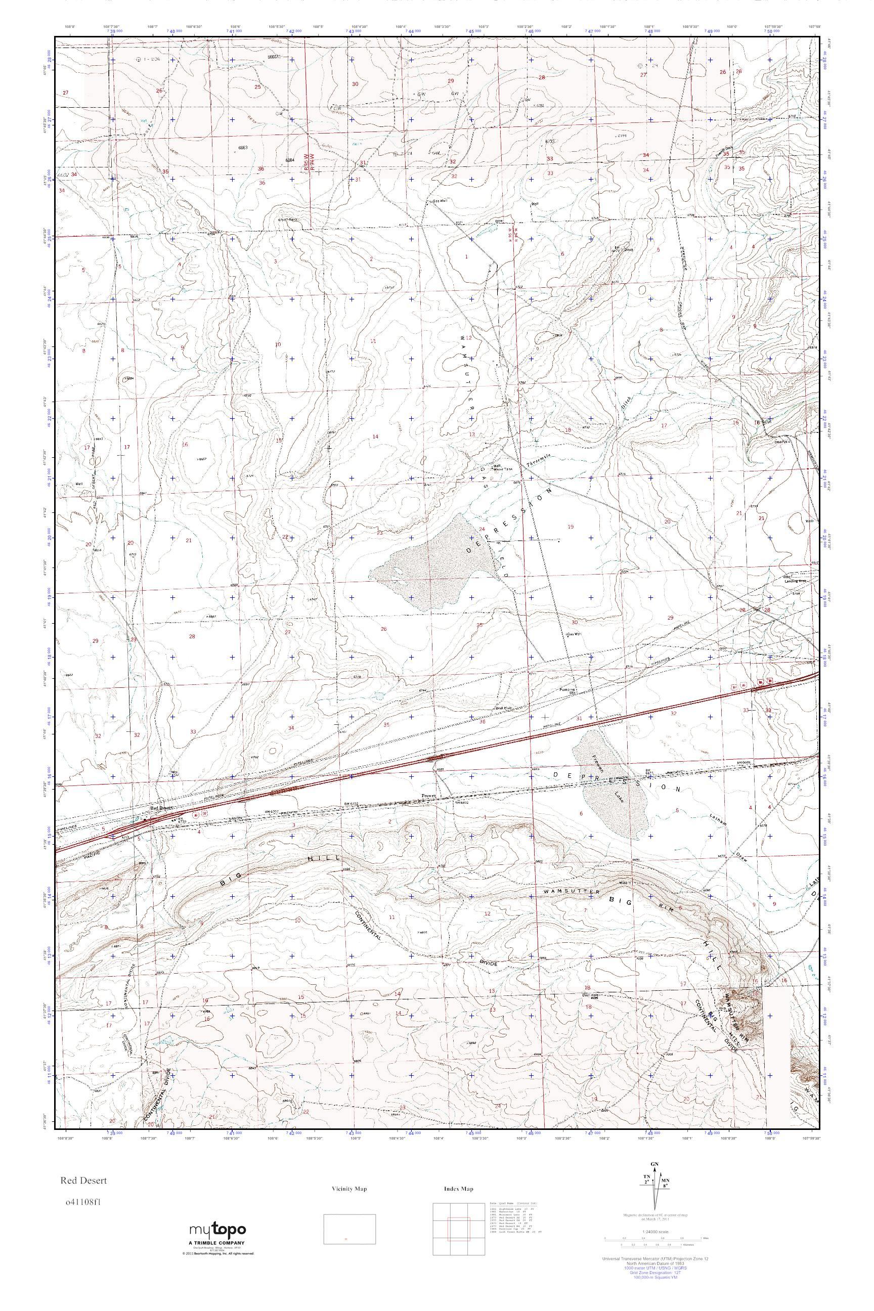Mytopo Red Desert Wyoming Usgs Quad Topo Map