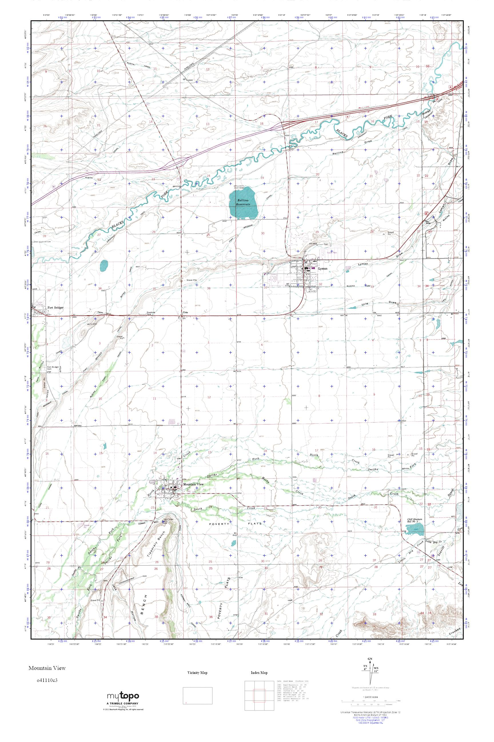 Mountain View Wyoming Map.Mytopo Mountain View Wyoming Usgs Quad Topo Map