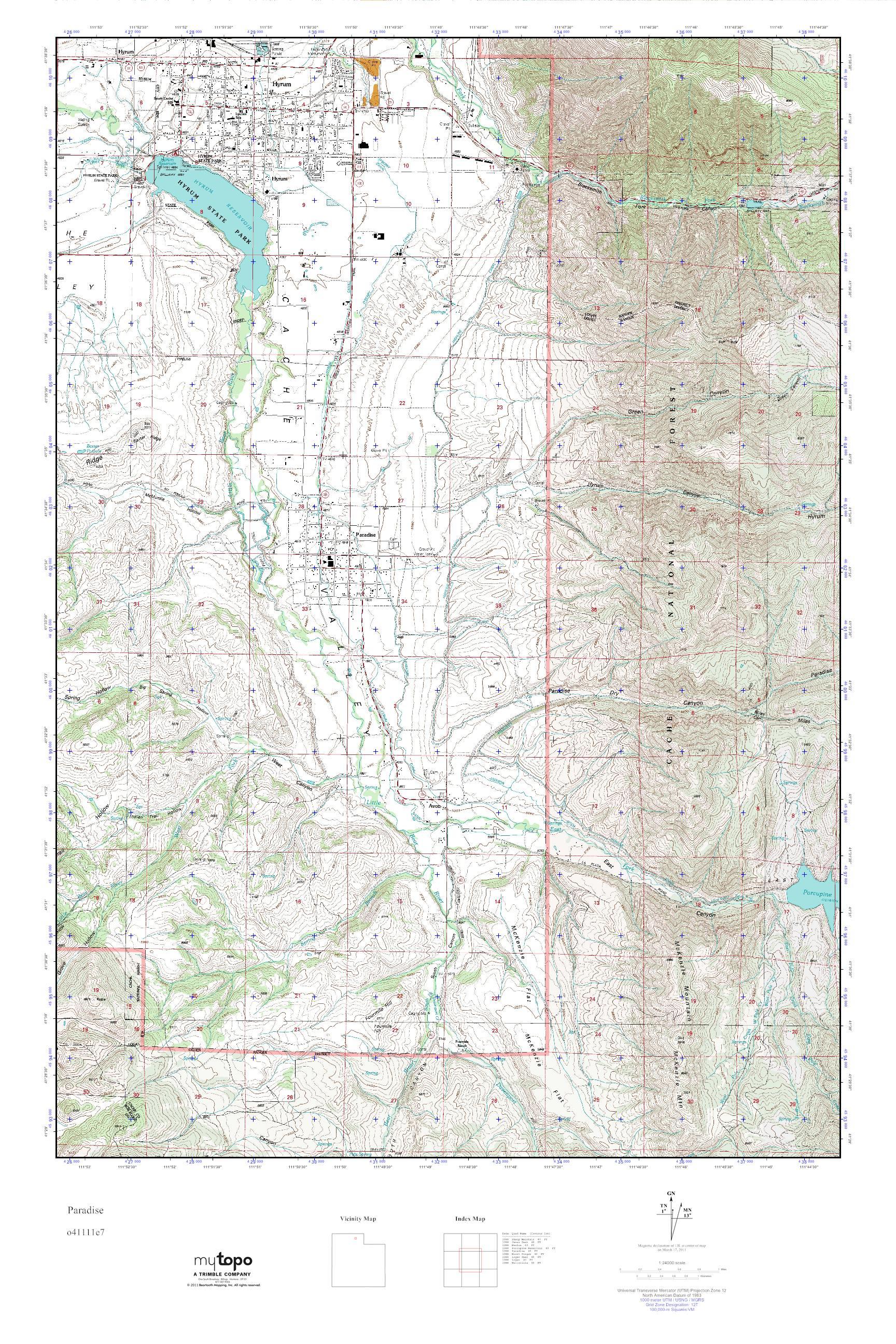 Paradise Utah Map.Mytopo Paradise Utah Usgs Quad Topo Map