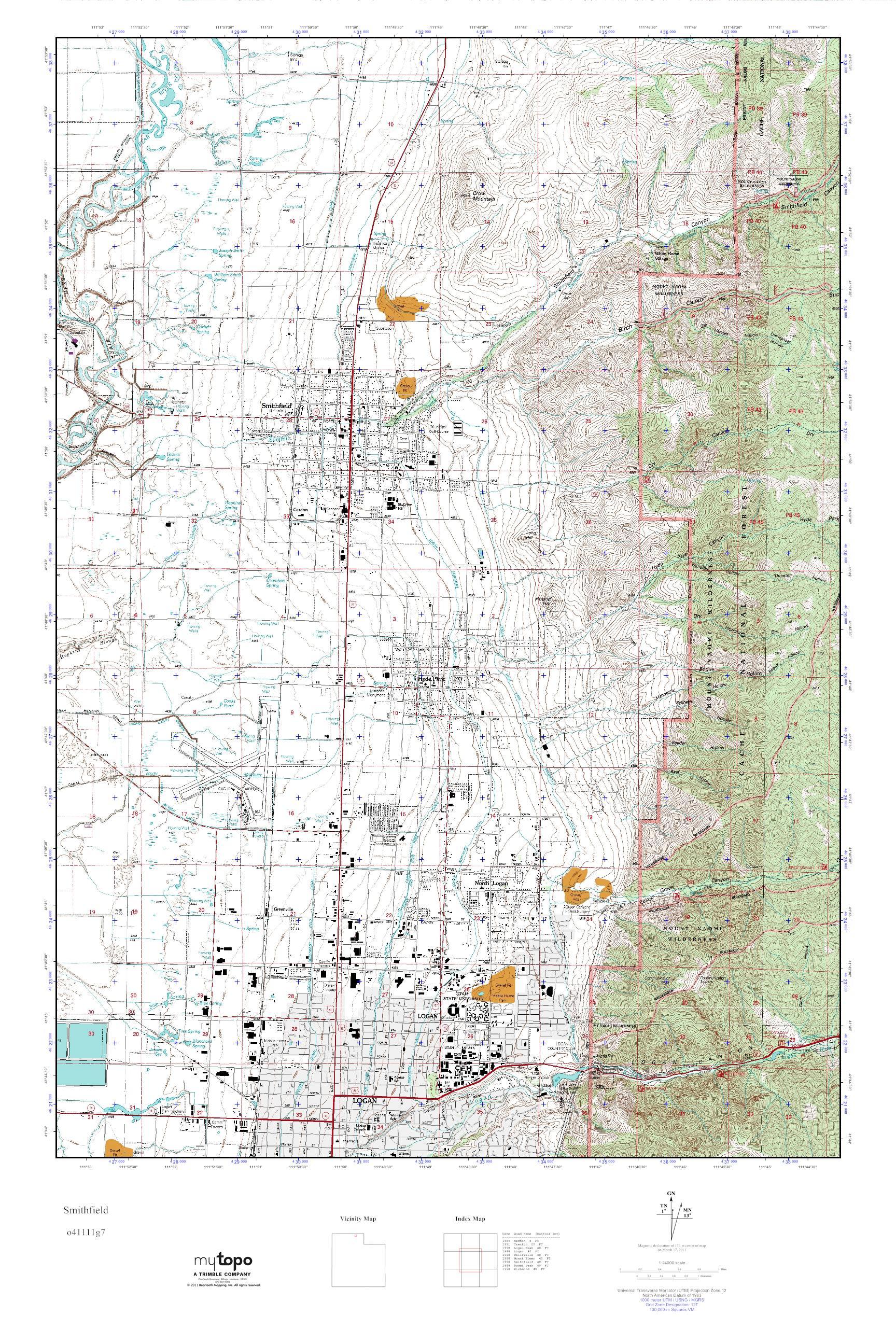 MyTopo Smithfield, Utah USGS Quad Topo Map