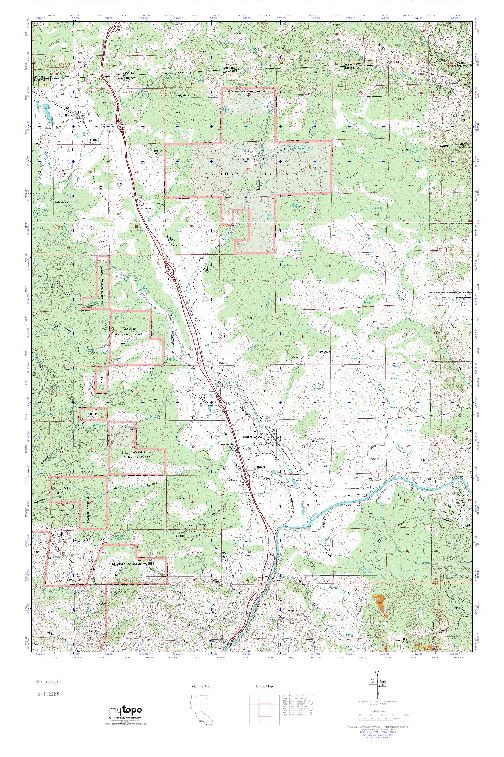 California Map Topography.Mytopo Hornbrook California Usgs Quad Topo Map