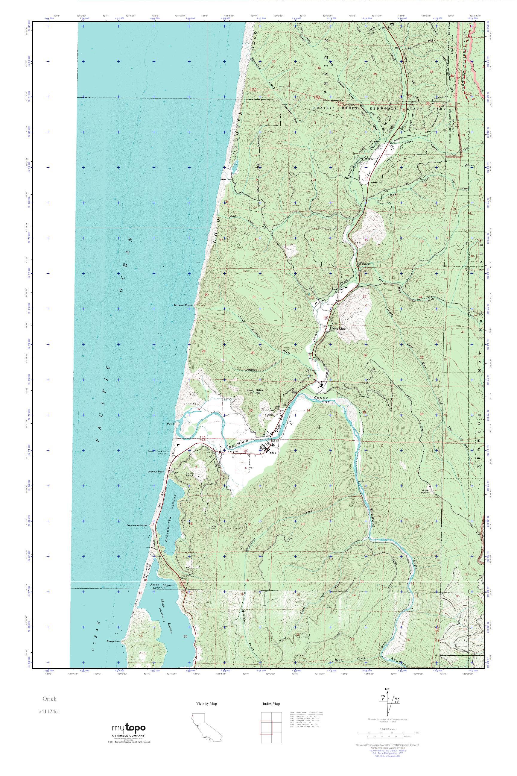 Orick California Map.Mytopo Orick California Usgs Quad Topo Map