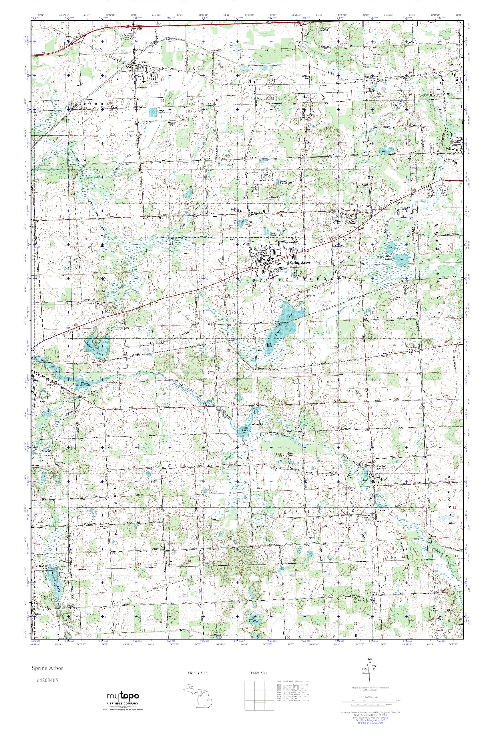 Spring Arbor Michigan Map.Mytopo Spring Arbor Michigan Usgs Quad Topo Map